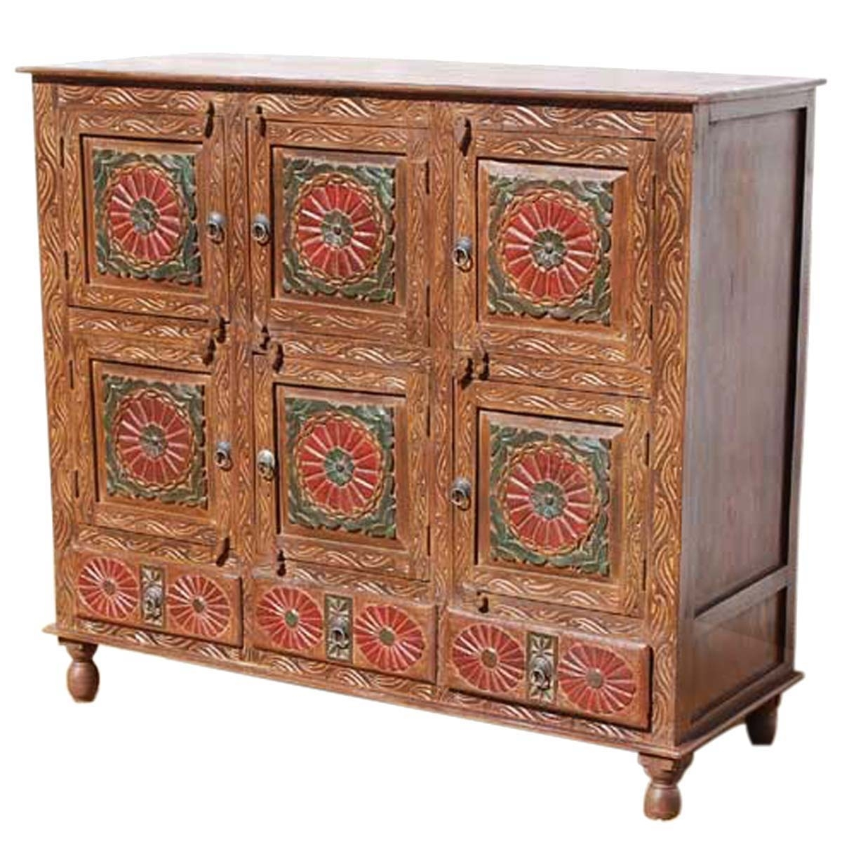 Chicago Red Poppy Handcarved 9 Compartment 3 Drawer Sideboard Inside Most Recently Released Starburst 3 Door Sideboards (#3 of 20)