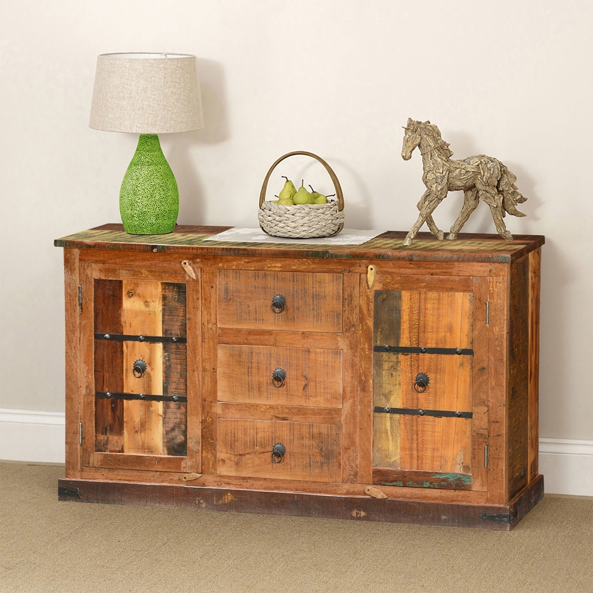 Classic Country Rustic Reclaimed Wood 3 Drawer Sideboard Cabinet With Regard To 2017 Starburst 3 Door Sideboards (#4 of 20)