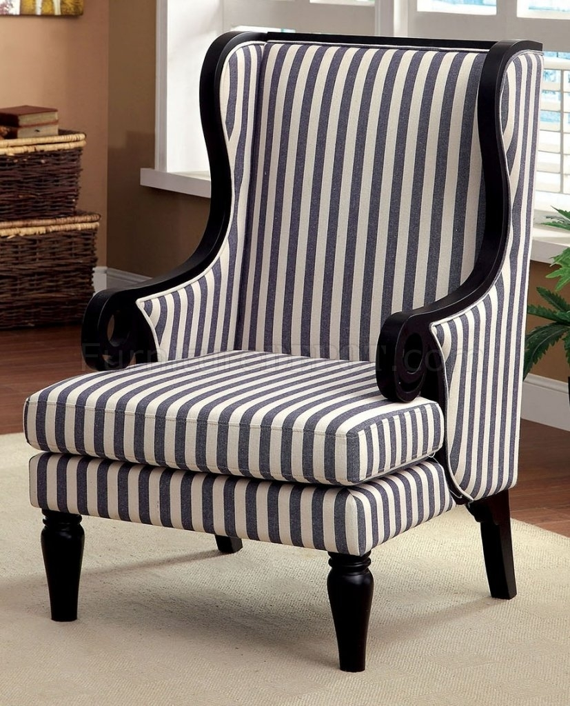 Cm Ac6802 Accent Chair In White & Dark Blue Stripes Fabric Regarding Popular Blue Stripe Dining Chairs (#10 of 20)