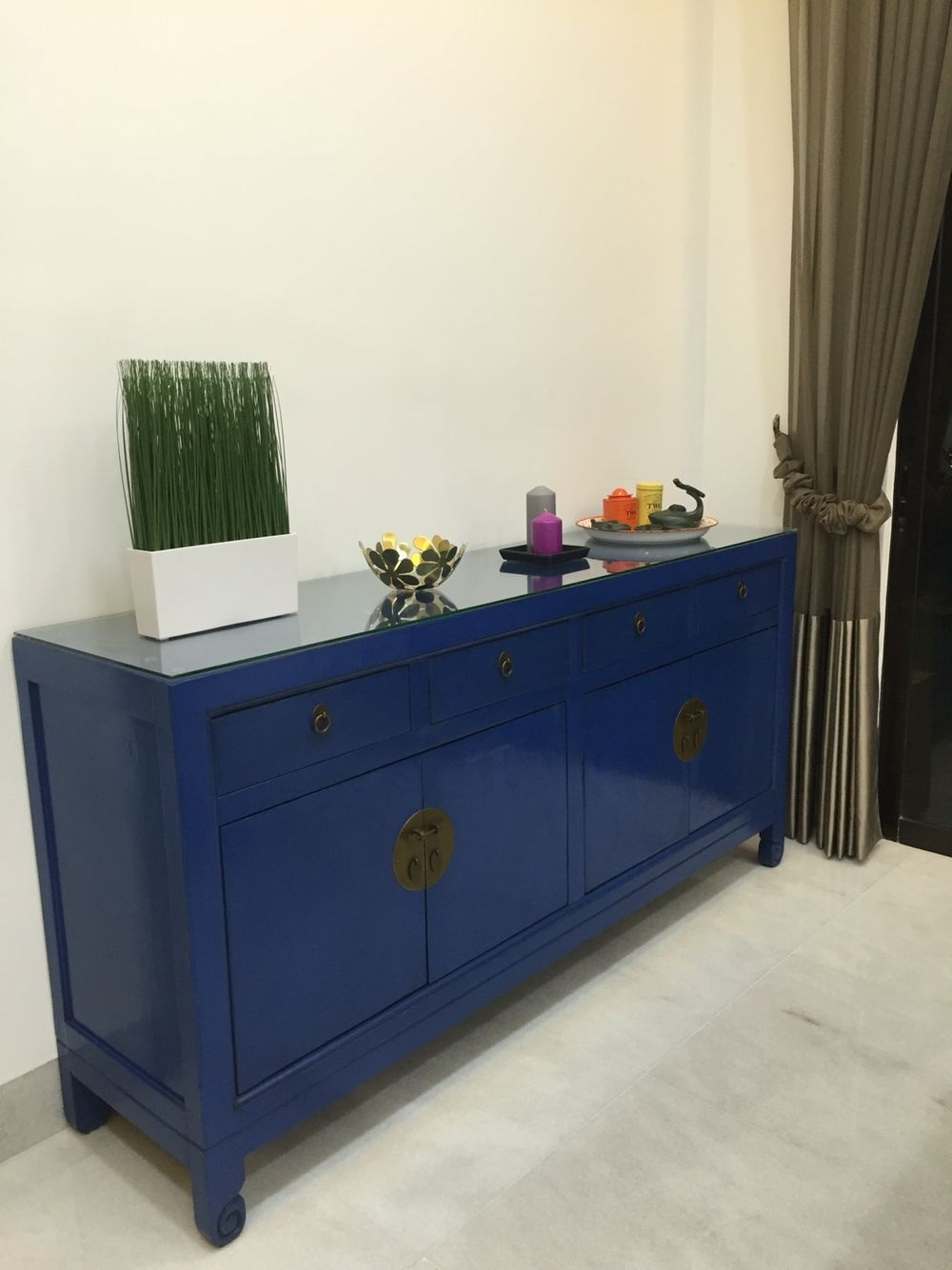 Cobalt/ Royal Blue Sideboard With Antique Chinese Elements For My In Current Blue Stone Light Rustic Black Sideboards (#13 of 20)