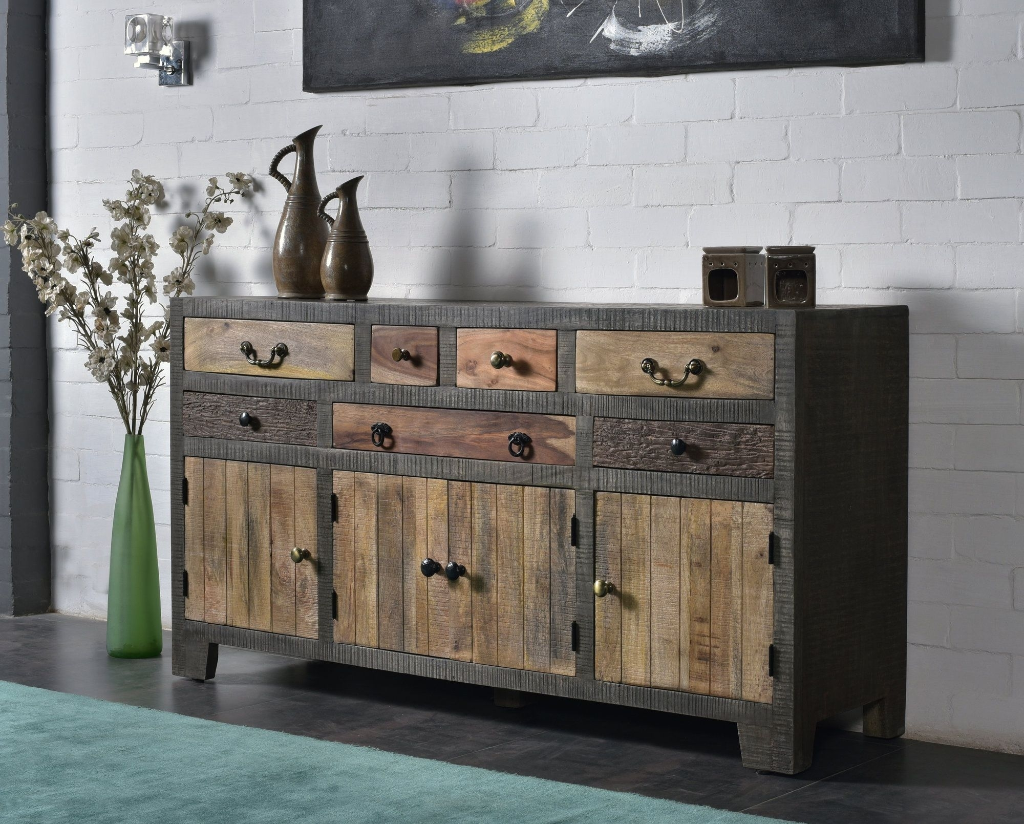 Cogbill 7 Drawer 4 Door Sideboard | Products | Pinterest | Drawers Pertaining To Best And Newest Reclaimed Pine & Iron 4 Door Sideboards (View 19 of 20)