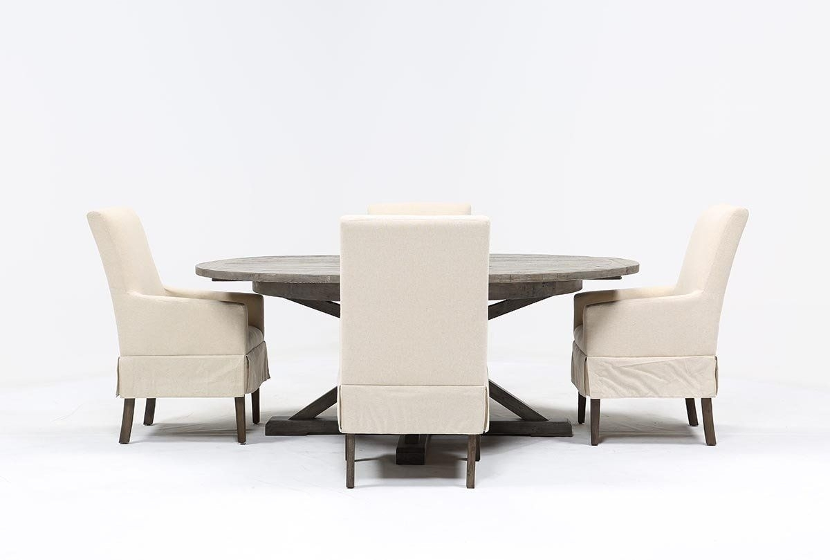 Combs 5 Piece Dining Set W/ Mindy Slipcovered Chairs (#9 of 20)