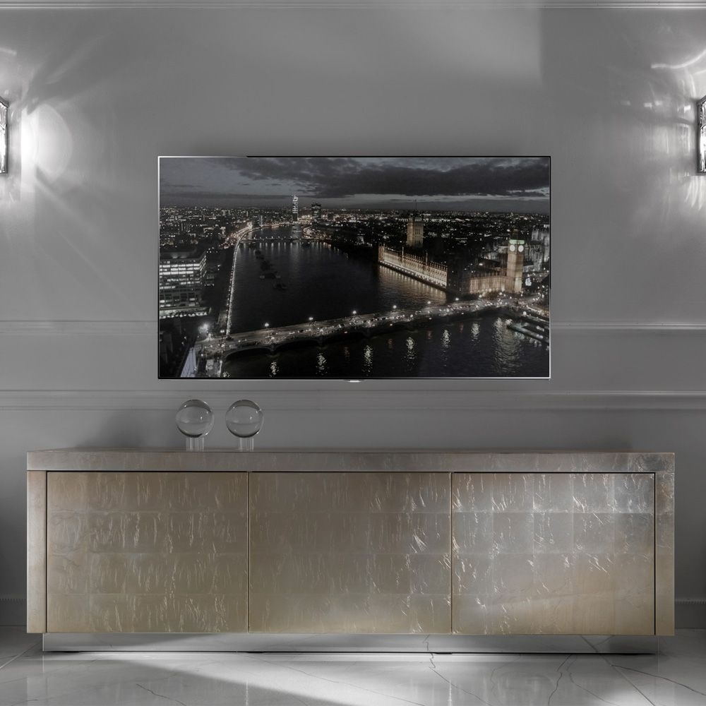 Contemporary Champagne Silver Leaf Sideboard Tv Unit | Love Things Regarding Most Up To Date Gunmetal Perforated Brass Sideboards (#13 of 20)