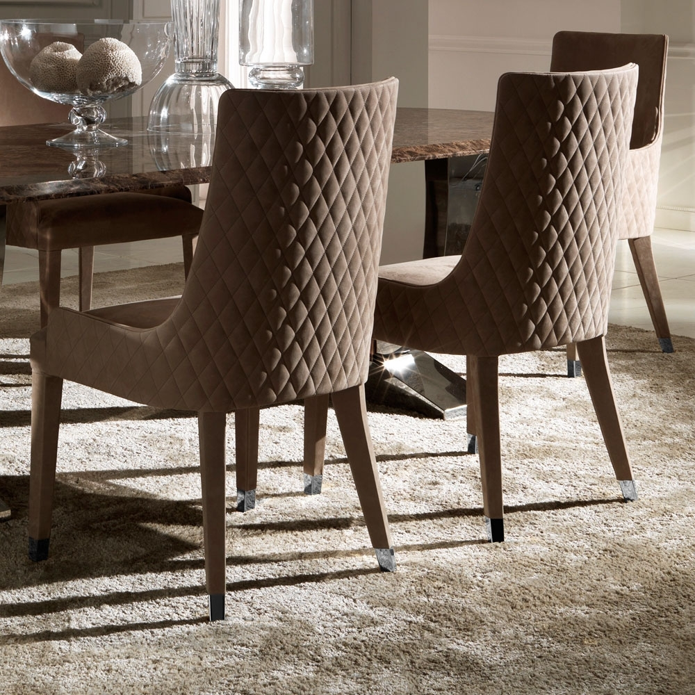 Contemporary Quilted Nubuck Leather Italian Dining Chairs In Preferred Quilted Brown Dining Chairs (#4 of 20)