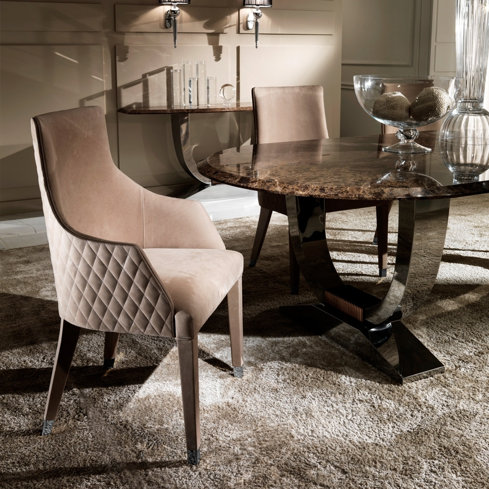Contemporary Quilted Nubuck Leather Italian Dining Chairs With Well Known Quilted Brown Dining Chairs (#5 of 20)