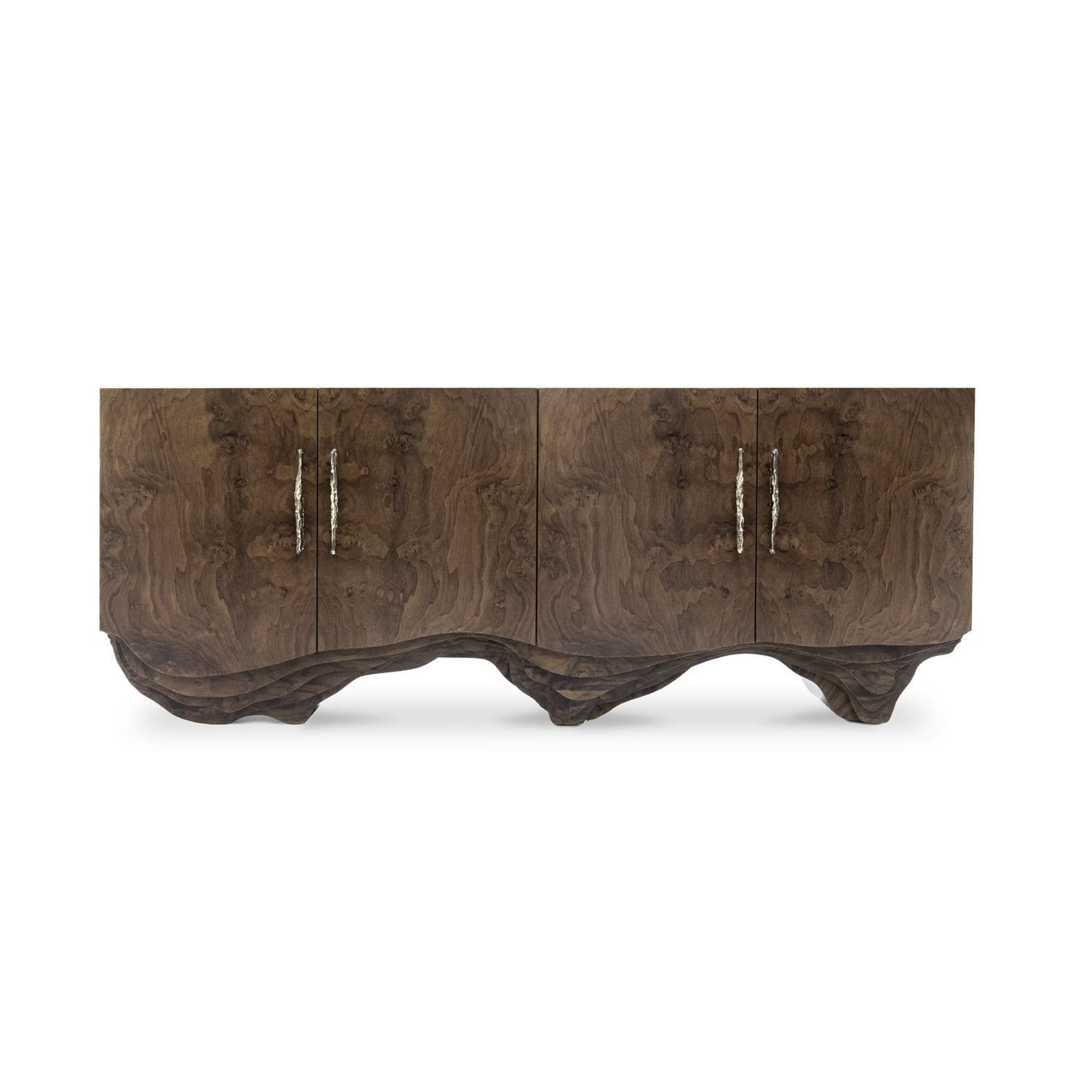 Contemporary Sideboard / Walnut / Wood Veneer / Polished Brass For Most Current Aged Brass Sideboards (View 4 of 20)