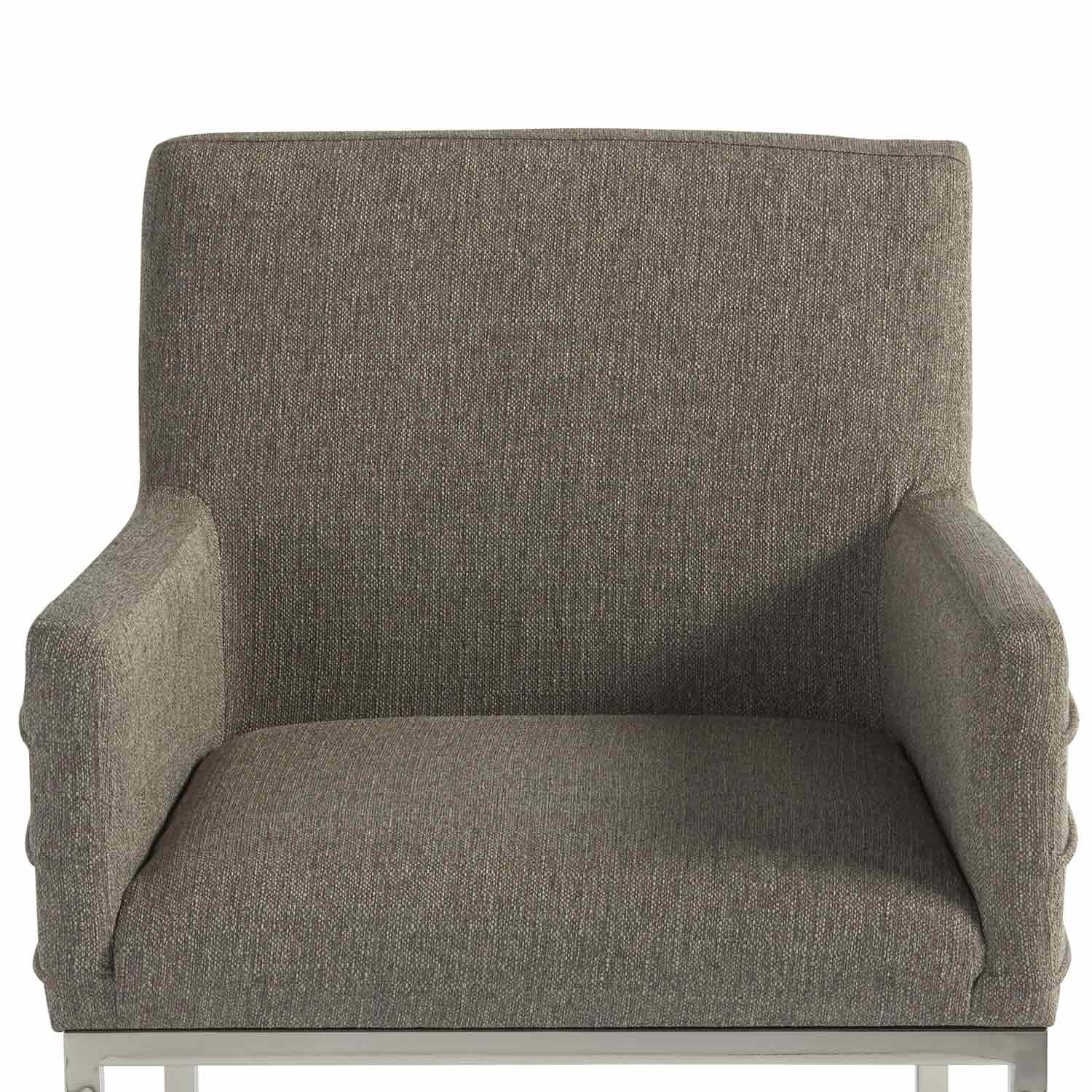 Cooper Upholstered Side Chairs Within Most Recently Released Zephyr Cooper Stainless Steel & Upholstered Arm Chair In Dark Gray (View 4 of 20)