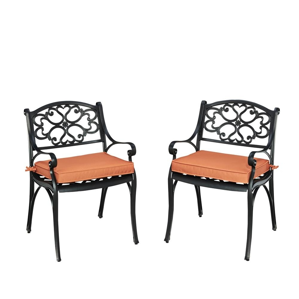 Cora Ii Arm Chairs Intended For Most Recent Homestyles Biscayne Black Outdoor Dining Arm Chair With Coral (View 17 of 20)