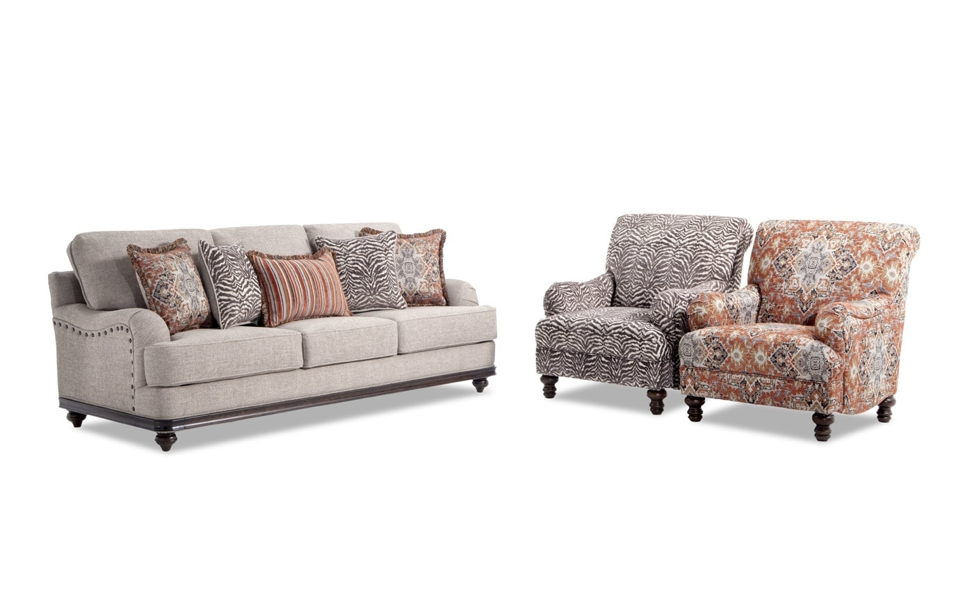 Cora Sofa, Medallion & Zebra Accent Chairs (View 13 of 20)