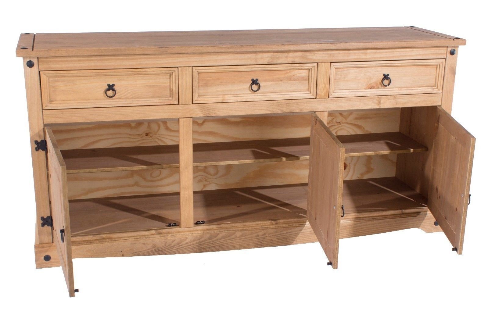 Corona Premium Quality Solid Mexican Pine Sideboard Large 2 Door 3 For Most Up To Date Aged Pine 3 Drawer 2 Door Sideboards (#4 of 20)