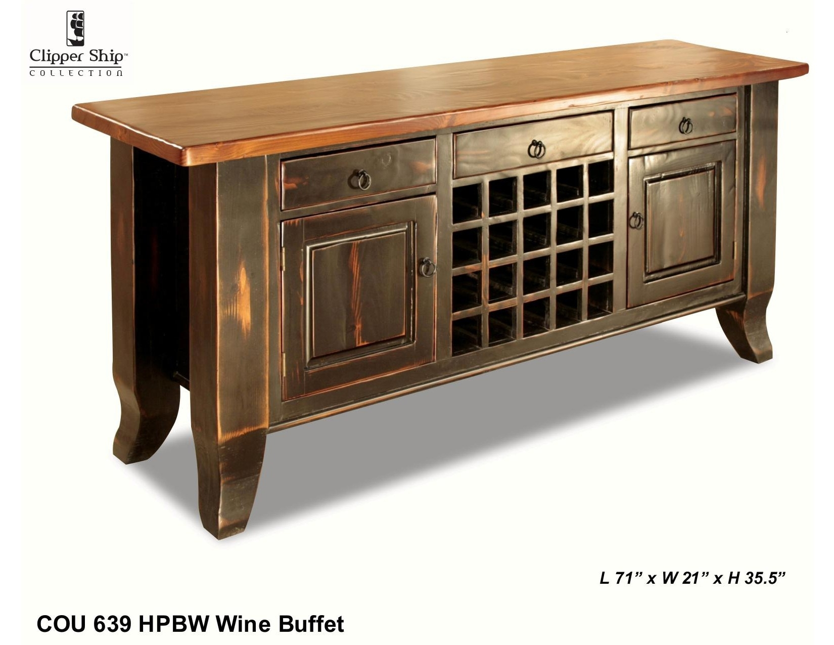 """Cou 639 """"honey Pine/black Wash"""" Sideboard – Clippership Furniture For 2017 3 Drawer/2 Door White Wash Sideboards (View 15 of 20)"""