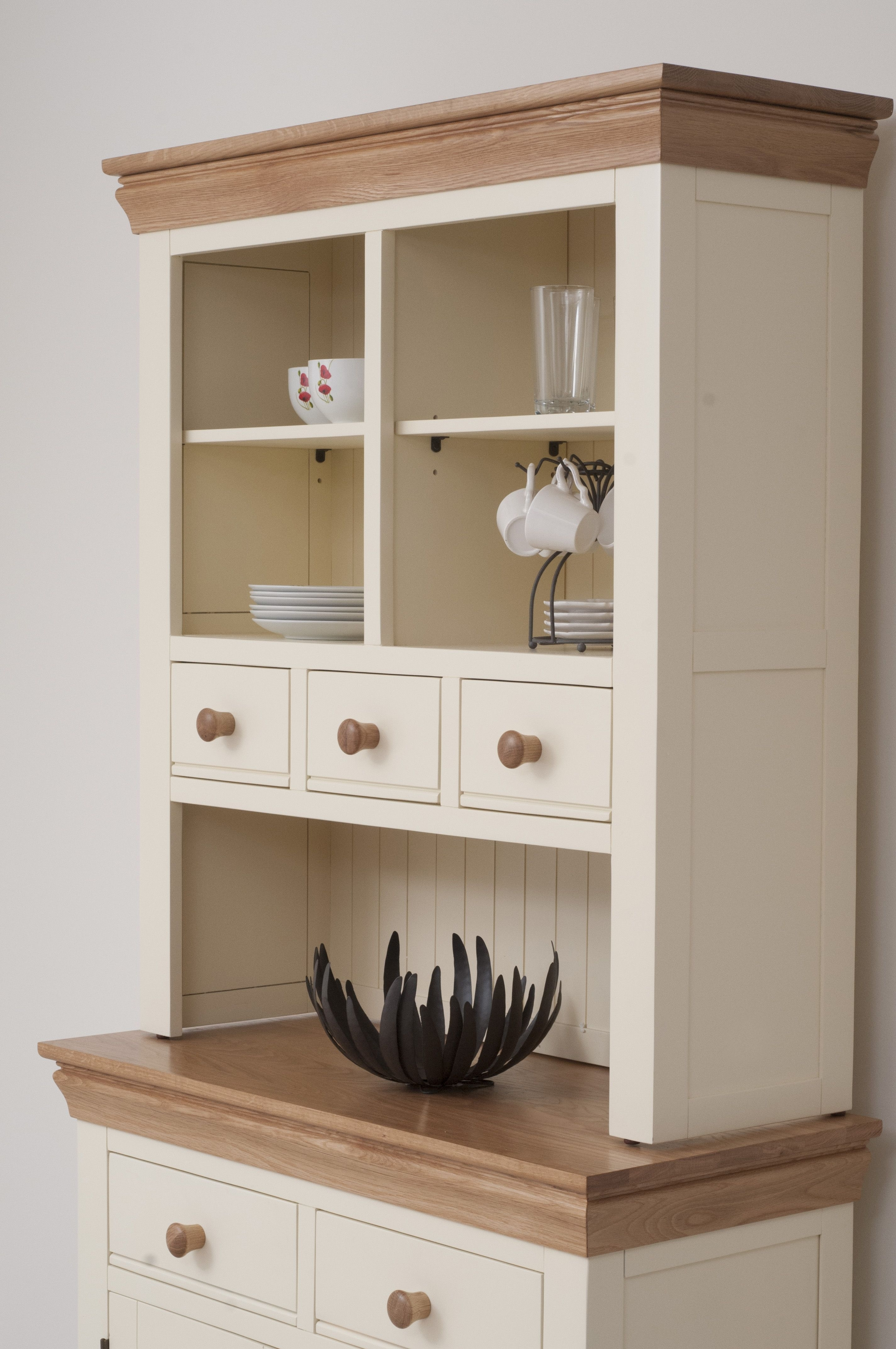 Country Cottage Painted Funiture Cabinet   Cream Welsh Dresser Oak With Regard To Most Up To Date Rossi Large Sideboards (#3 of 20)