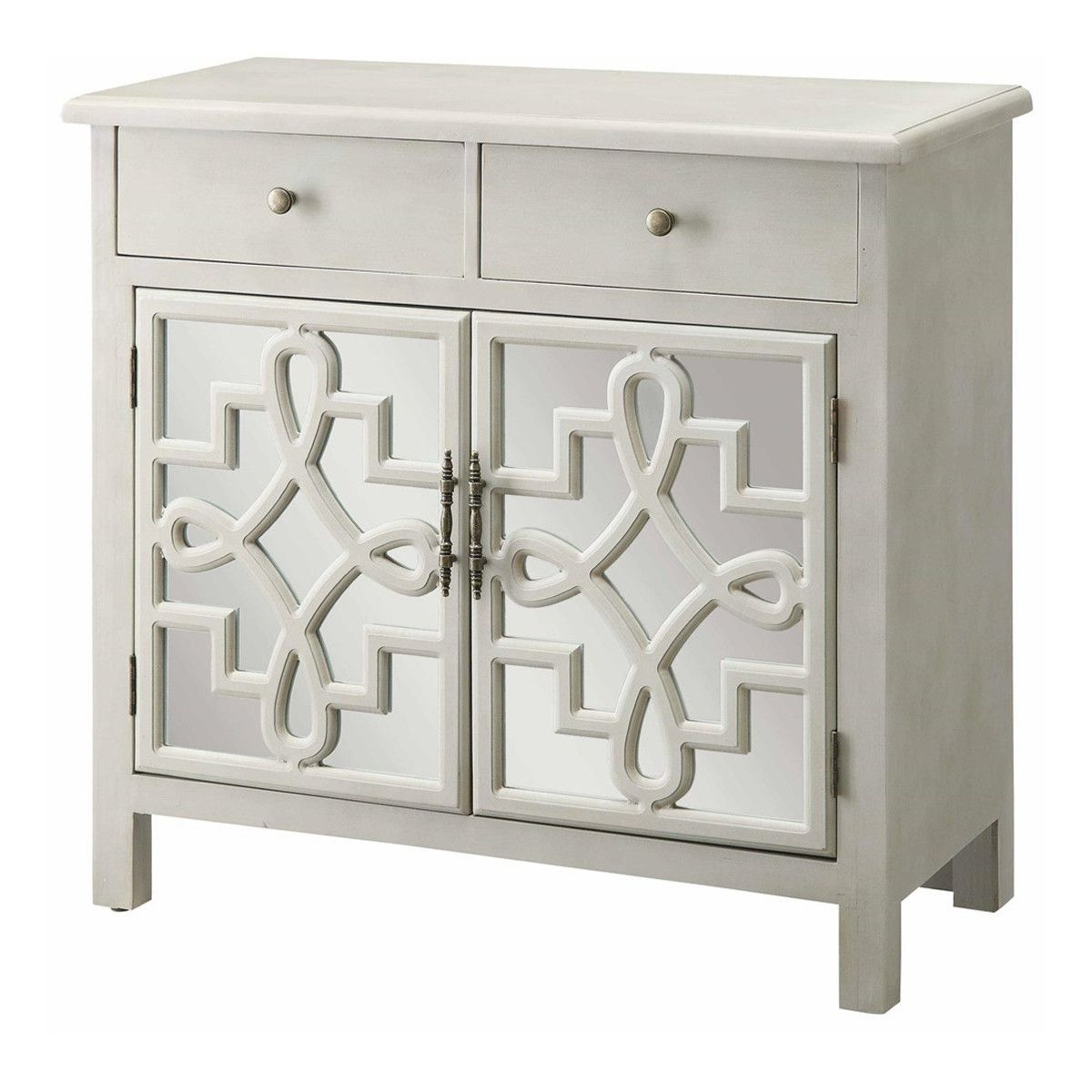 Coventry 2 Door Antique White And Mirrored Cabinet | Home Intended For Newest Aged Mirrored 2 Door Sideboards (#9 of 20)