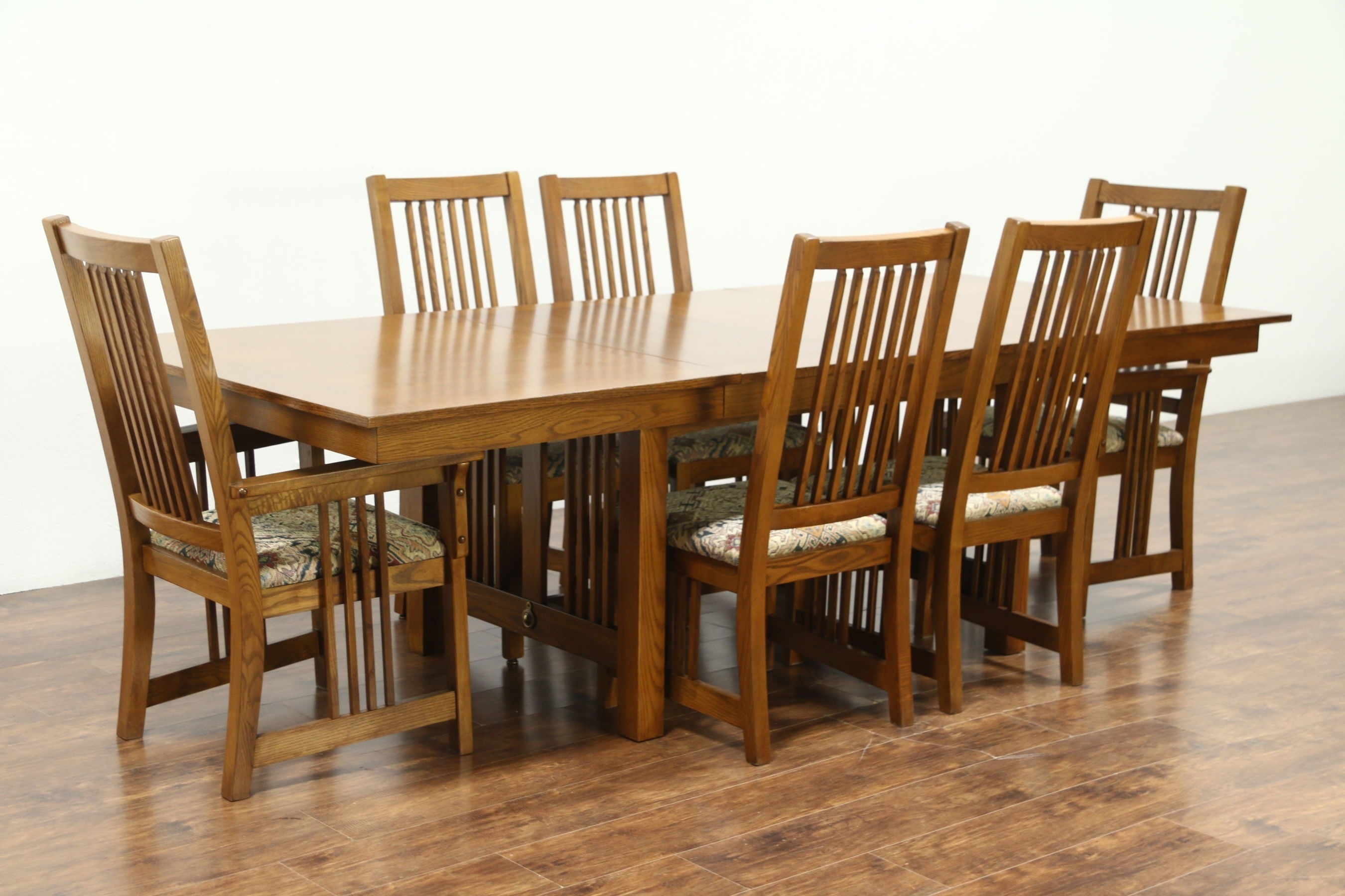 Craftsman Side Chairs With Regard To Well Known Sold – Prairie Or Craftsman Vintage Oak Dining Set, Table, 2 Leaves (#6 of 20)