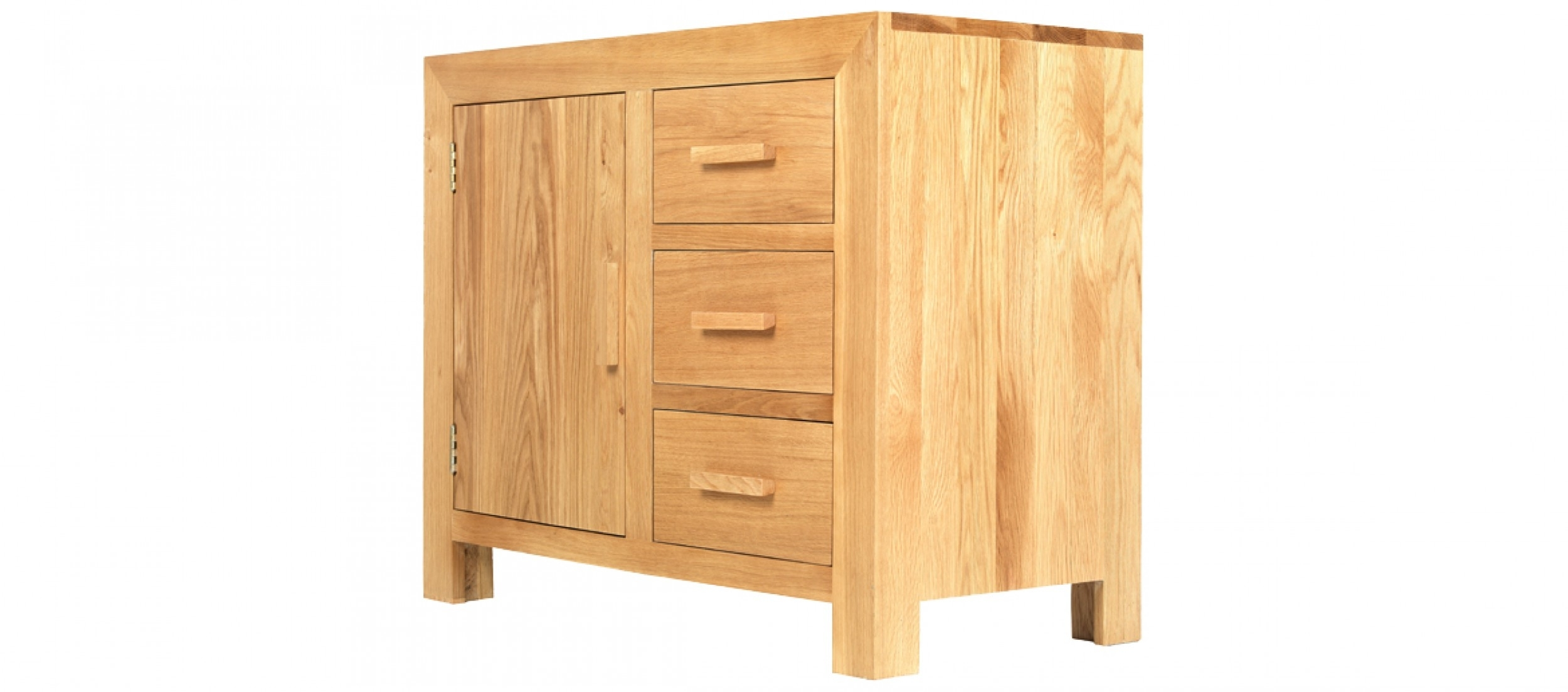 Cube Oak Small Sideboard | Quercus Living Regarding Most Recent 2 Door/2 Drawer Cast Jali Sideboards (View 13 of 20)