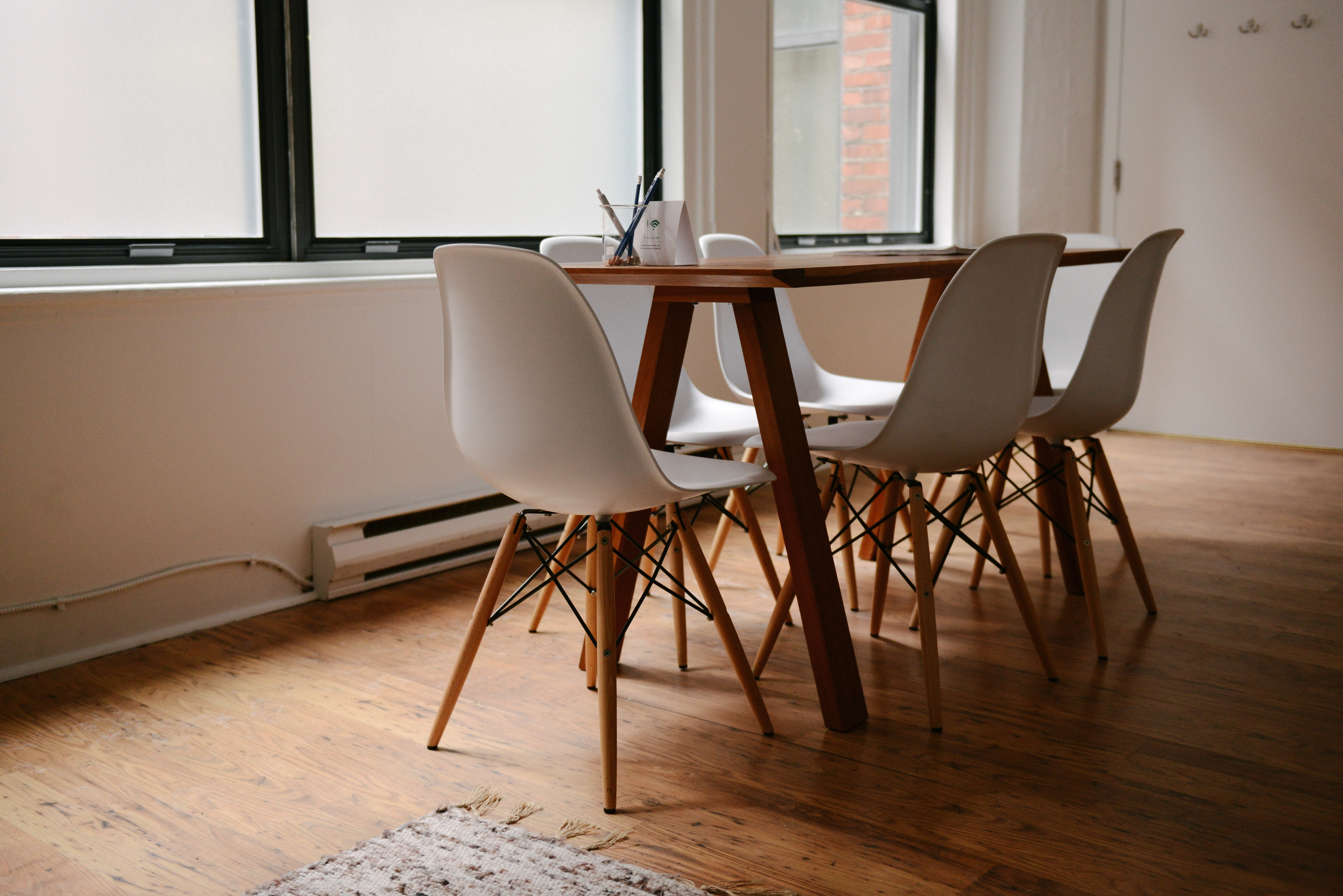 Inspiration about Current Parquet Dining Chairs Inside Free Images : Desk, Table, Chair, Home, Meeting, Office, Property (#10 of 20)