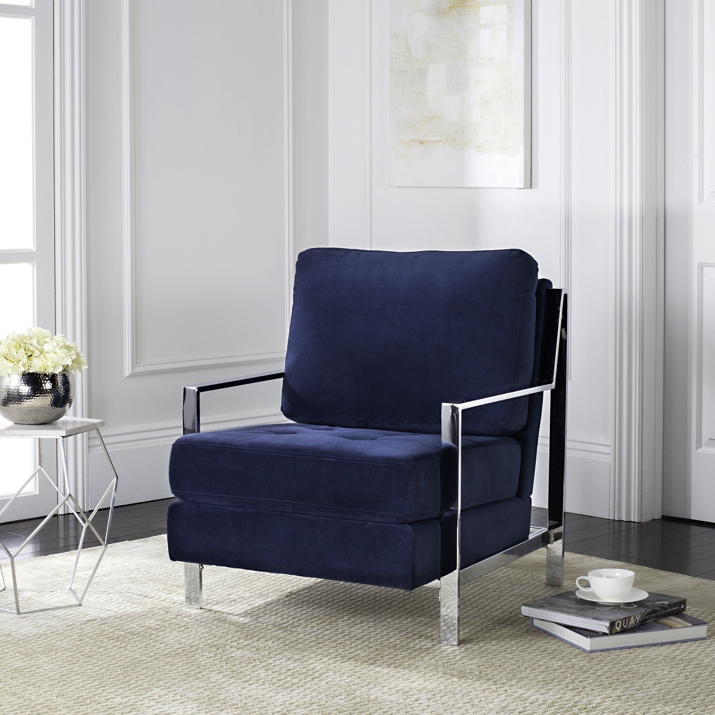 Current Shop Mid Century Modern Glam Velvet Navy Blue Club Chair – Free Regarding Walden Upholstered Side Chairs (#4 of 20)