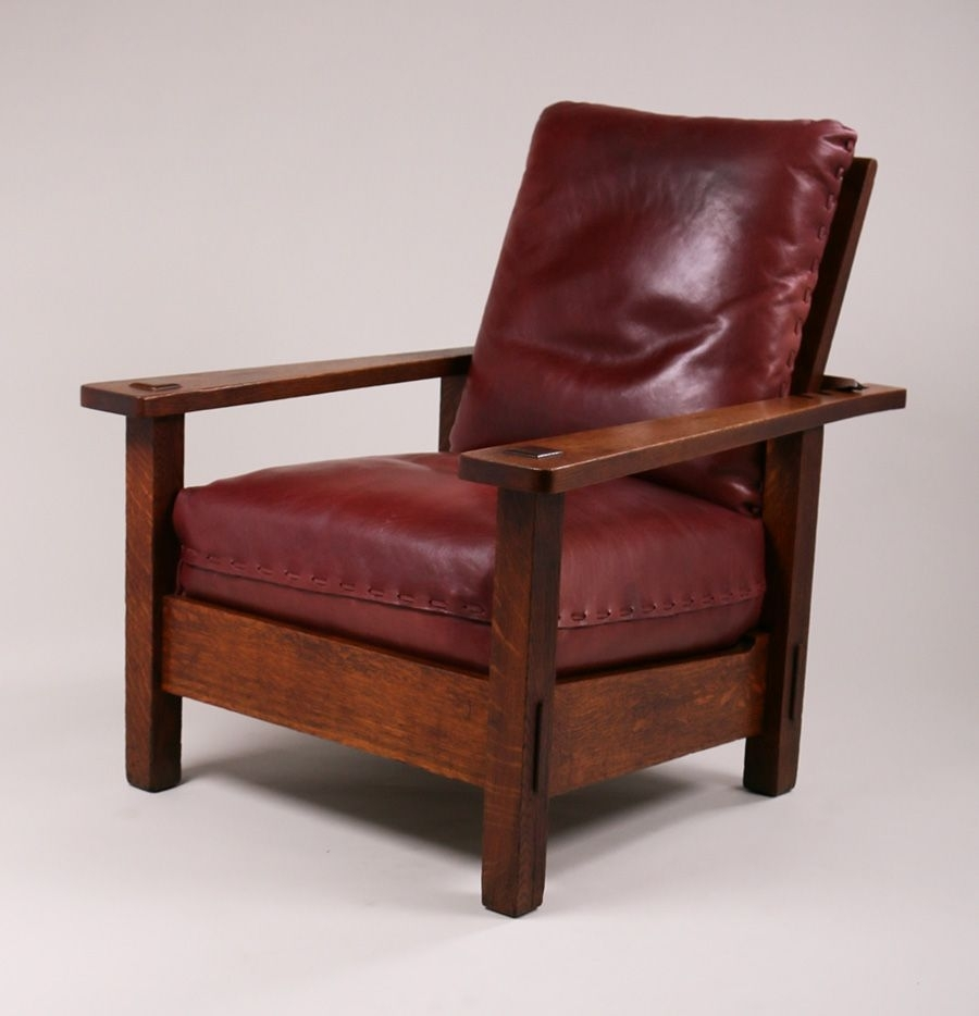 Current Stickley Brothers Large Morris Chair With Long, Tapered Arms In Craftsman Arm Chairs (#10 of 20)