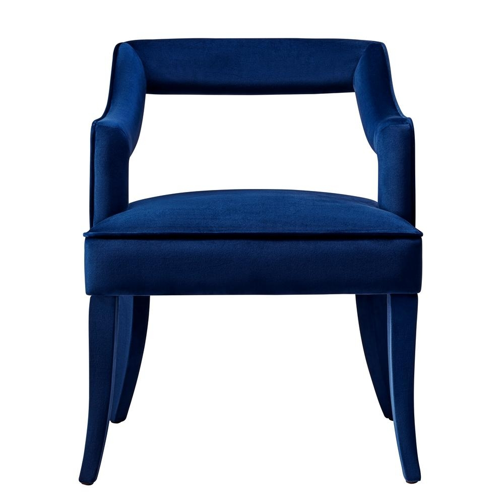 Current Tov Furniture Tiffany Navy Velvet Chair Tov A212 – The Home Depot Regarding Craftsman Upholstered Side Chairs (View 8 of 20)