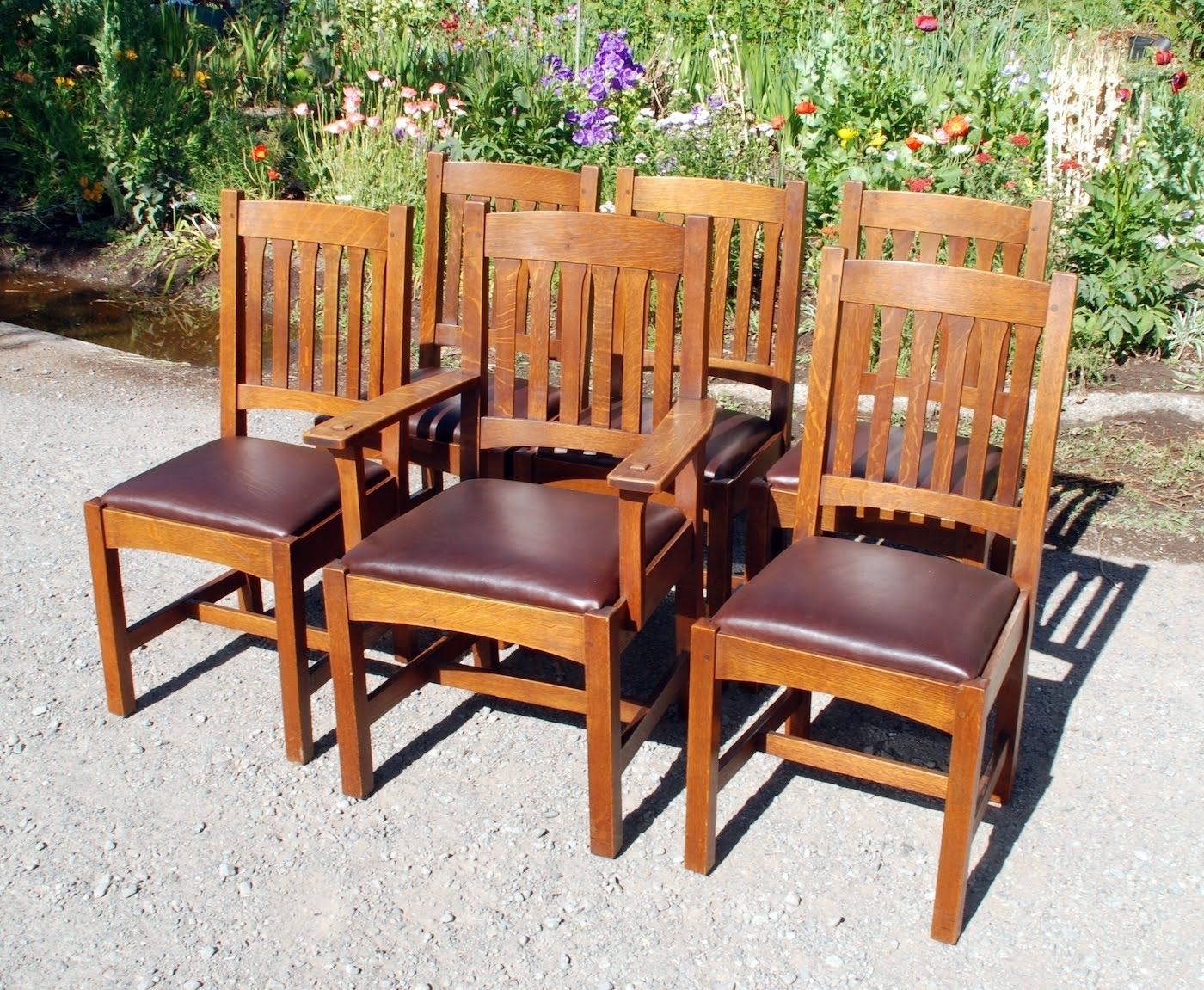 Current Voorhees Craftsman Mission Oak Furniture – Set Of 6 Original L Throughout Craftsman Arm Chairs (#11 of 20)