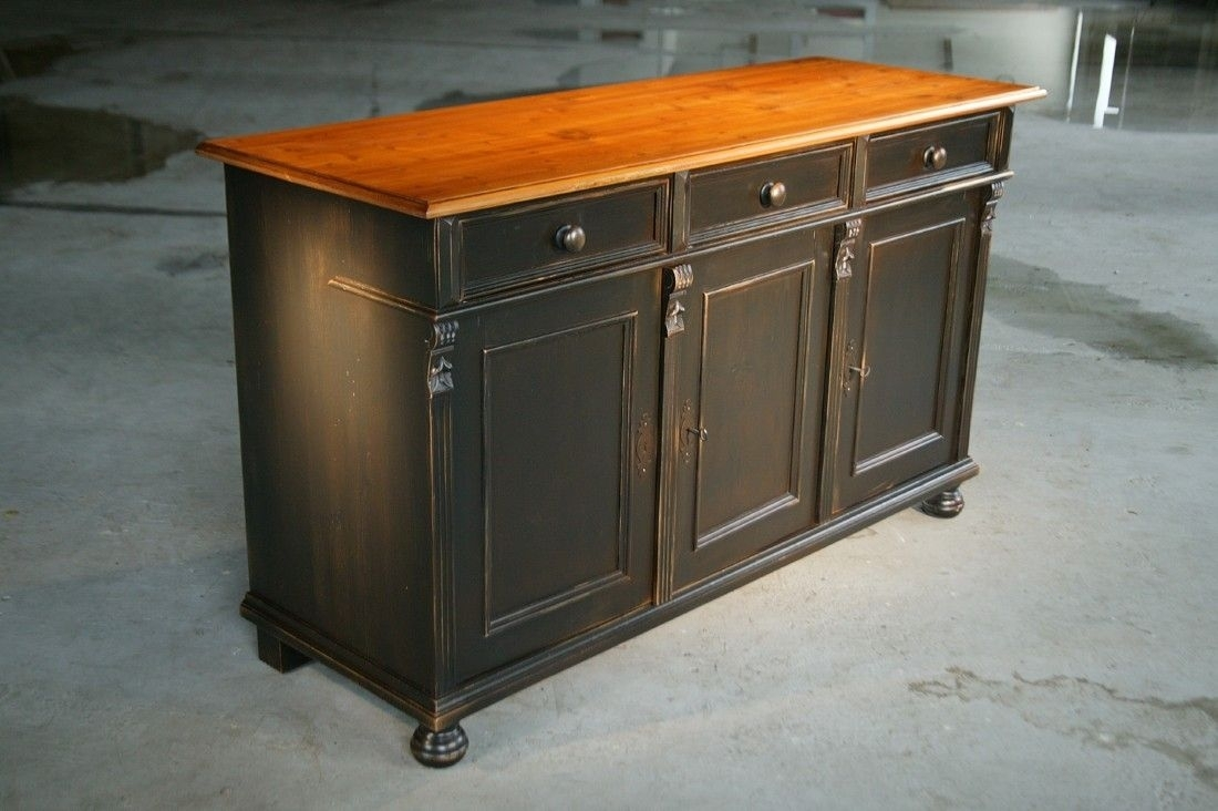 Custom Made Black Kitchen Island From Reclaimed Pine Sideboard Intended For 2018 Reclaimed Pine 4 Door Sideboards (#9 of 20)
