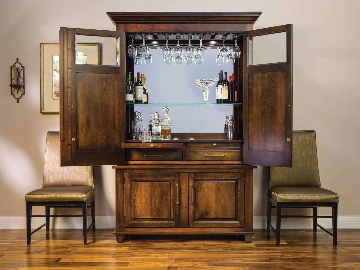 Inspiration about Deleven Hardwood Bar And Wine Cabinet – Countryside Amish Furniture Intended For Most Recently Released Leven Wine Sideboards (#5 of 20)