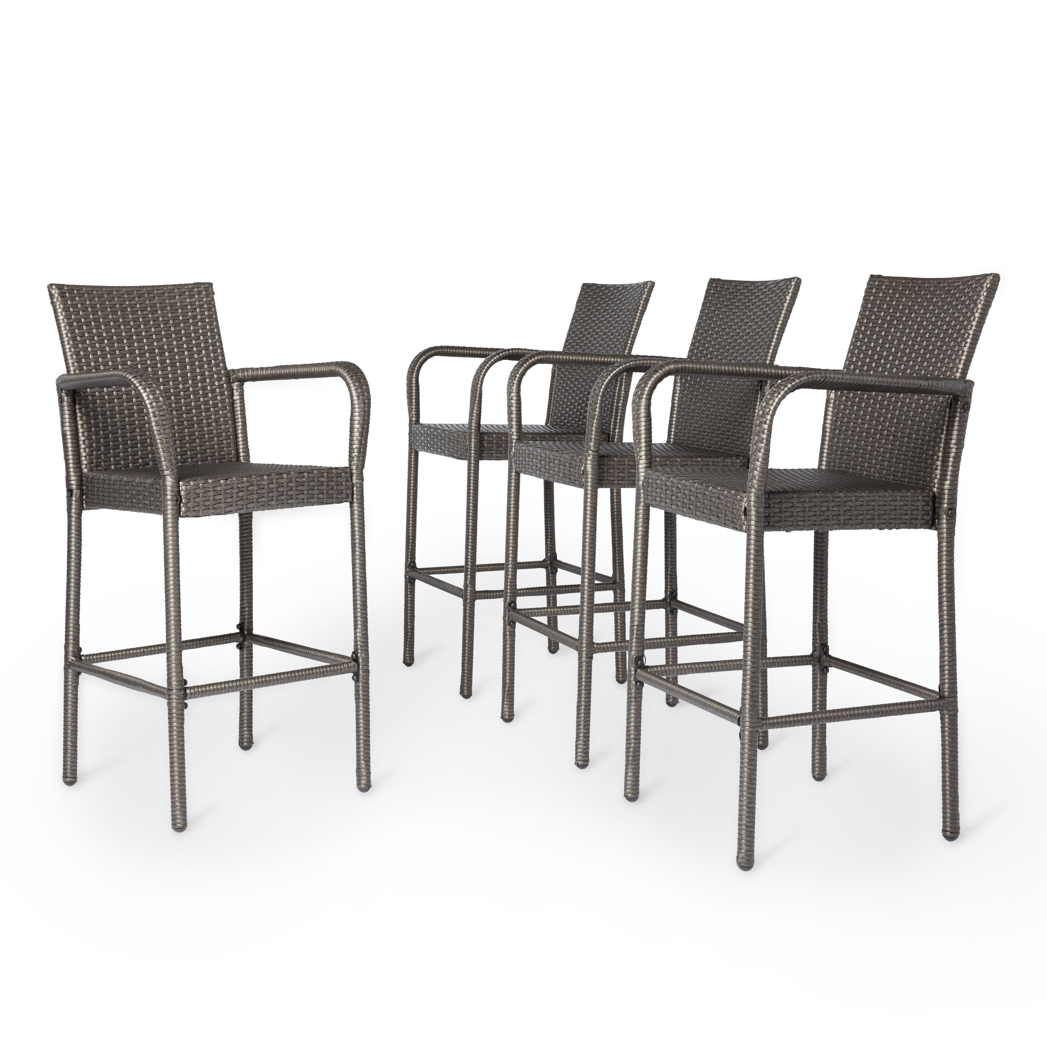 Delfina Side Chairs Inside Popular Delfina Outdoor Wicker Barstool (Set Of 4)Christopher Knight (#10 of 20)