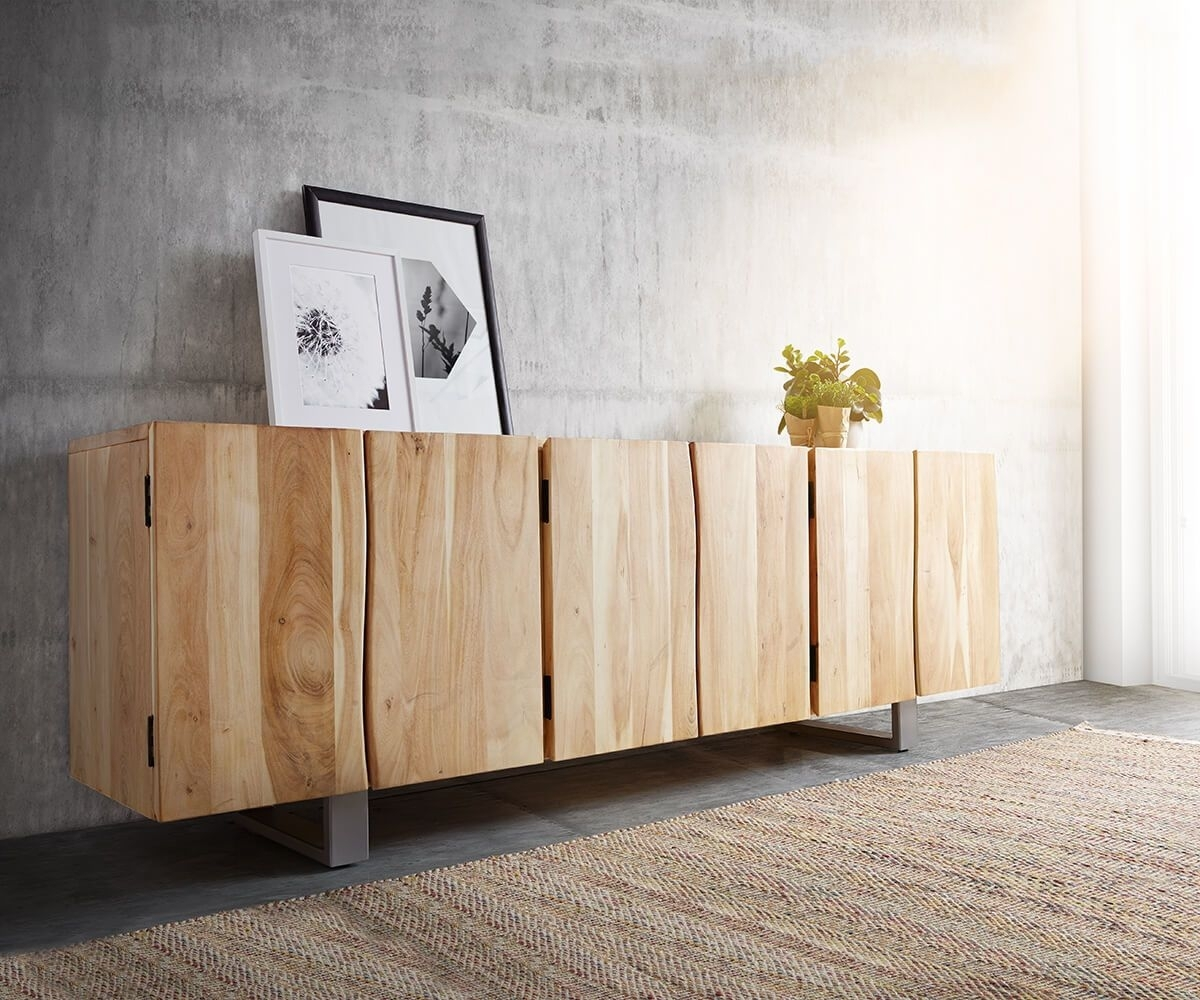 Inspiration about Delife Sideboard Live Edge 220 Cm Akazie Gebleicht Massiv 6 Türen With Regard To Most Up To Date Gunmetal Perforated Brass Sideboards (#7 of 20)