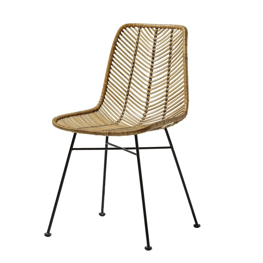 Design Rattan Chair With Black Metal Legbloomingville Intended For Current Natural Rattan Metal Chairs (View 2 of 20)