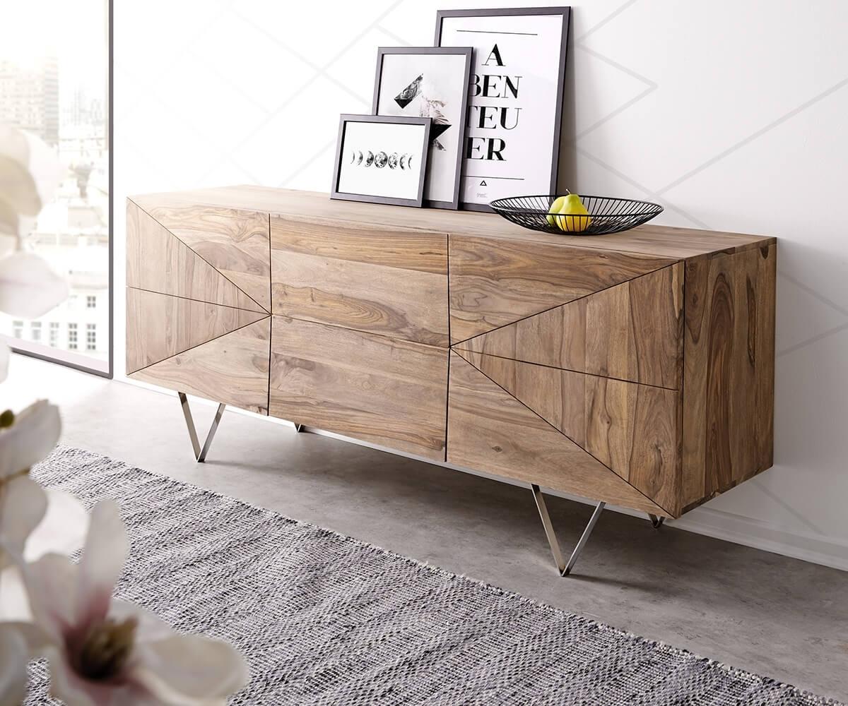 Inspiration about Designer Sideboard Wyatt 175 Cm Sheesham Natur 2 Türen 2 Schübe With Regard To 2017 Wyatt Sideboards (#5 of 20)
