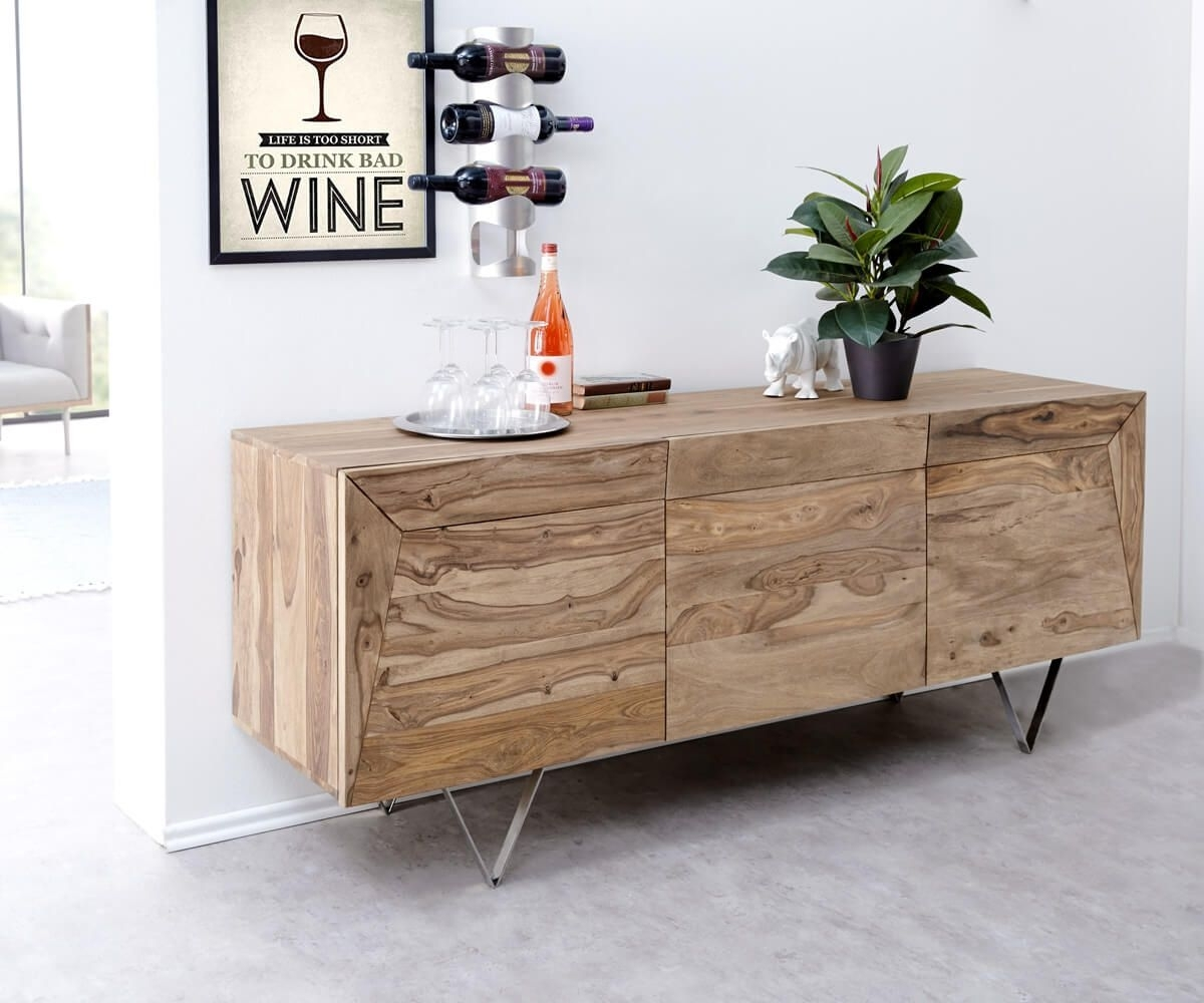 Inspiration about Designer Sideboard Wyatt 175 Cm Sheesham Natur 3 Türen Edelstahl In Best And Newest Wyatt Sideboards (#1 of 20)