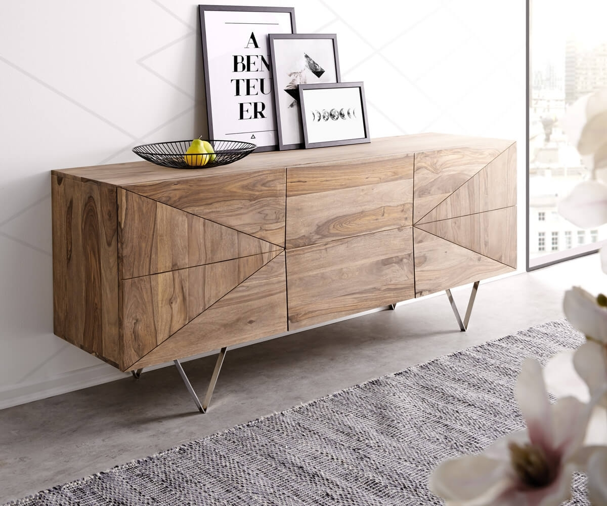 Inspiration about Designer Sideboard Wyatt 175 Cm Sheesham Natur Edelstahl Möbel Within 2017 Wyatt Sideboards (#9 of 20)