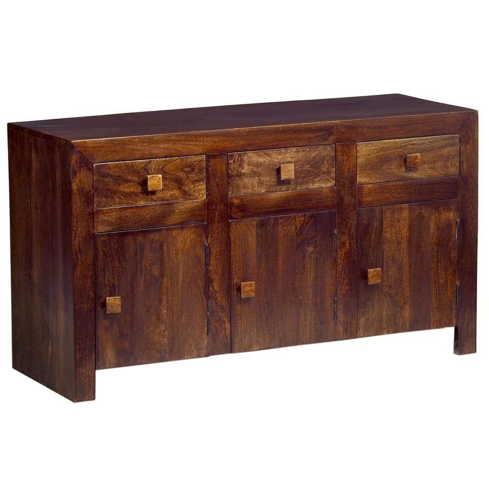 Inspiration about Details About 3 Door 2 Drawer Sideboard Storage Walnut Finish Mango Regarding Most Popular Natural Mango Wood Finish Sideboards (#10 of 20)