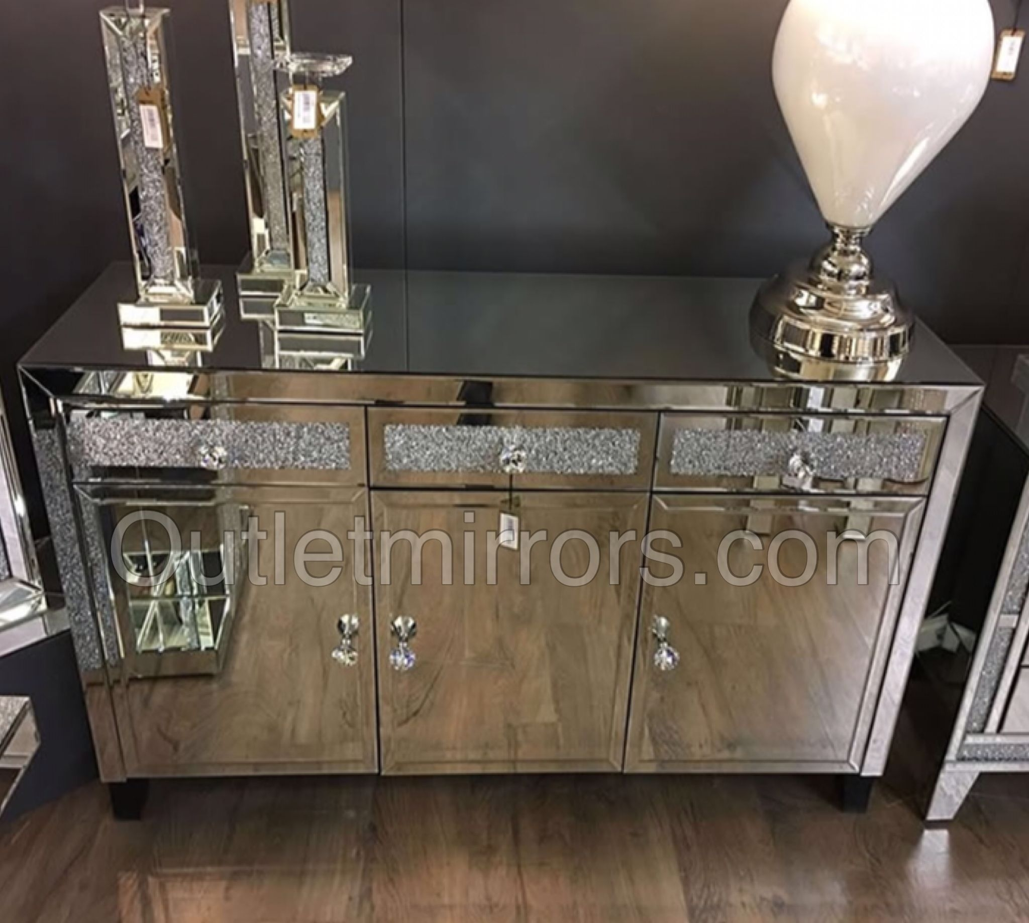 Inspiration about Diamond Crush Sparkle Mirrored 3 Draw / 3 Door Sideboard | Living Within Most Popular Solar Refinement Sideboards (#11 of 20)
