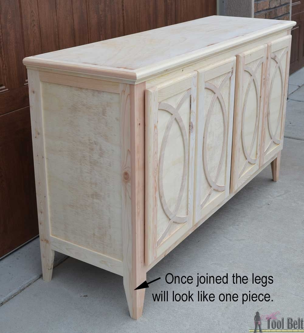 Diy Buffet Sideboard With Circle Trim Doors   Furniture   Pinterest With Regard To Current White Wash 4 Door Galvanized Sideboards (View 7 of 20)