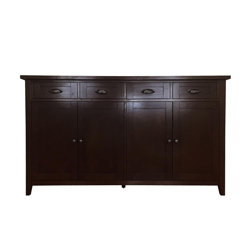 Inspiration about Donnieann Brookdale Dark Walnut Buffet/sideboard With 4 Drawers And Intended For Most Recent Metal Refinement 4 Door Sideboards (#9 of 20)