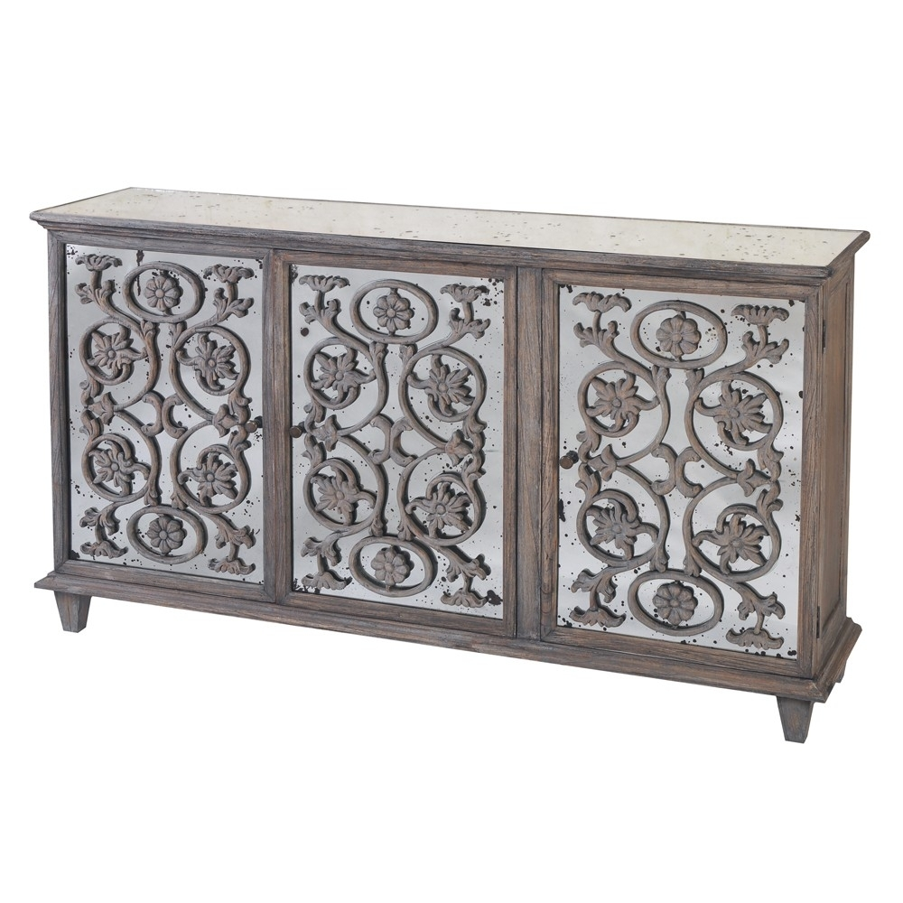 Inspiration about Dorset Antique Glass Flower Carvings Sideboard – Crown French Furniture Within Most Recently Released Aged Mirrored 2 Door Sideboards (#1 of 20)