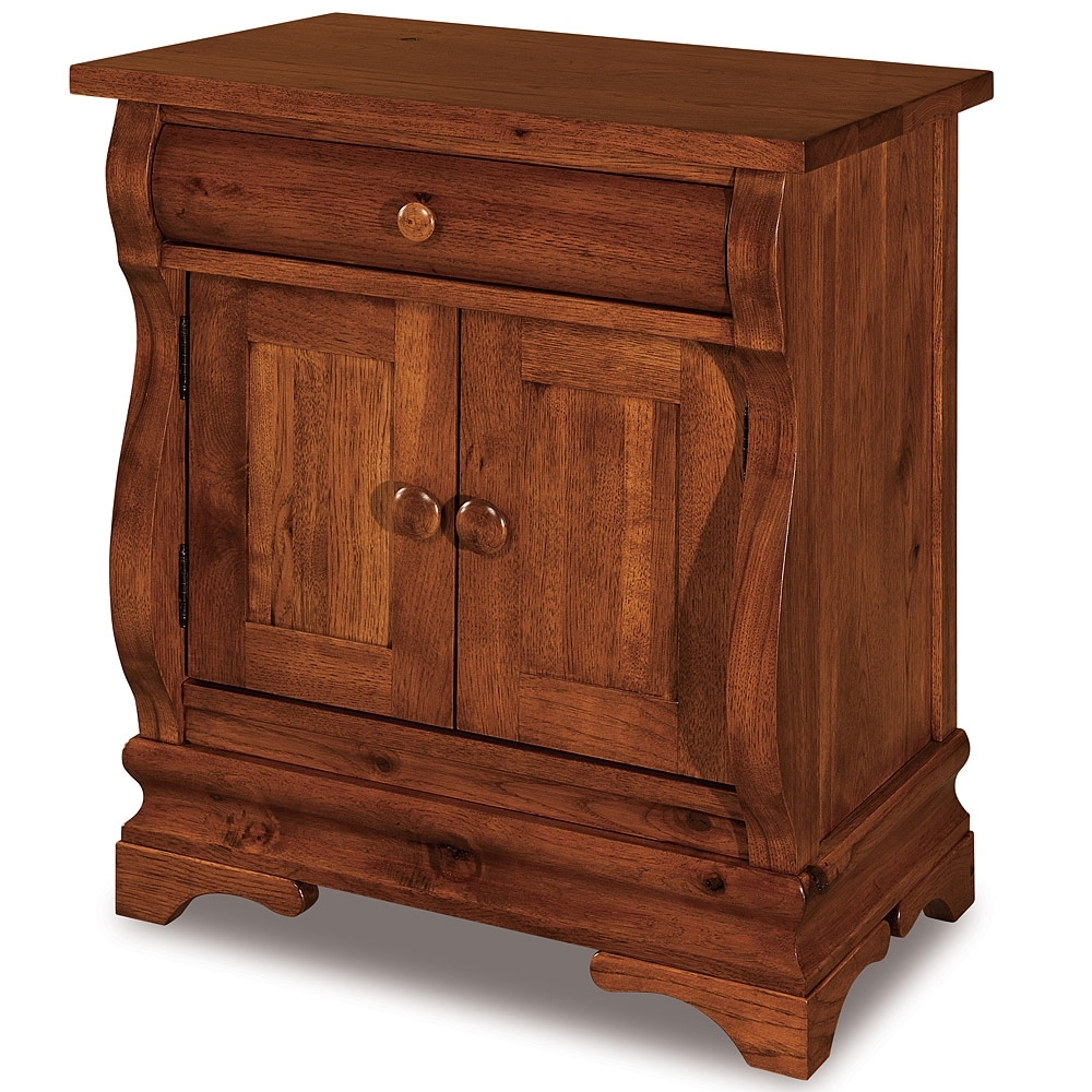 Eclectic 1 Drawer, 2 Door Nightstand:amish, Solid Wood, Handmade Pertaining To Recent Ironwood 4 Door Sideboards (View 5 of 20)