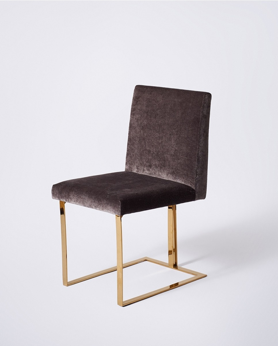 Edwards Dining Chair, Gold Frame Charcoal Velvet – Dining Chairs Intended For Well Liked Charcoal Dining Chairs (View 9 of 20)