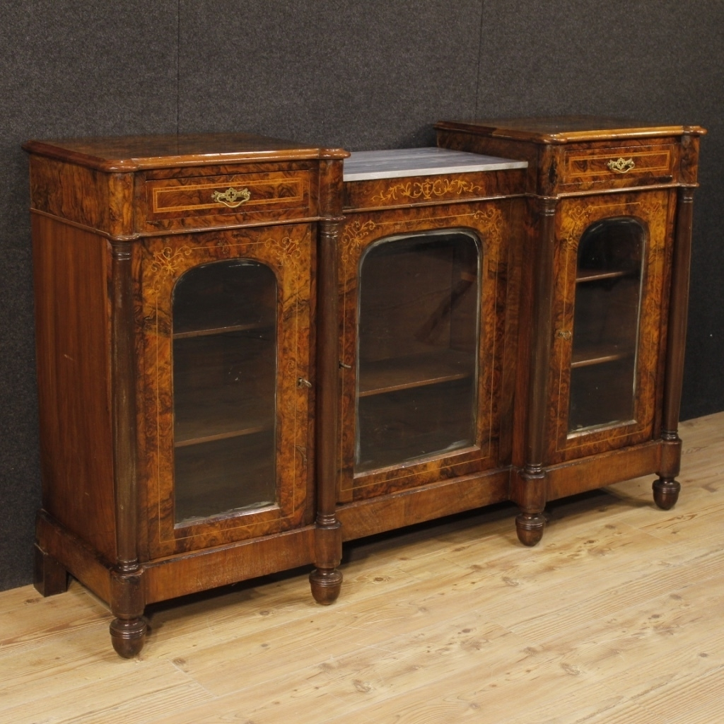 English Inlaid Sideboard In Burl Walnut, Maple And Rosewood   Vinterior Within Newest Rossi Large Sideboards (#4 of 20)