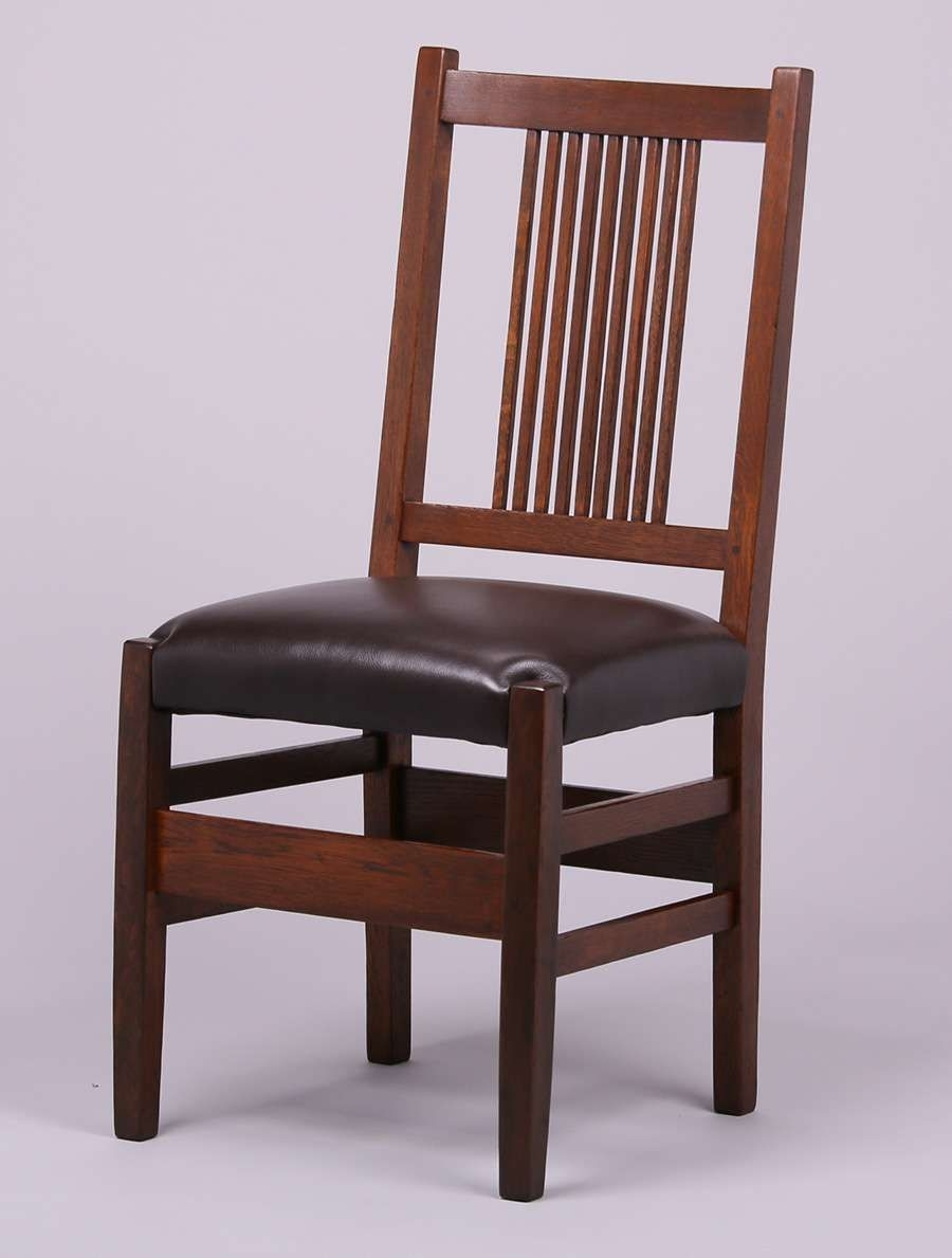Famous Craftsman Side Chairs Intended For Set Of 5 Gustav Stickley Spindled Side Chairs. Unsigned (#10 of 20)