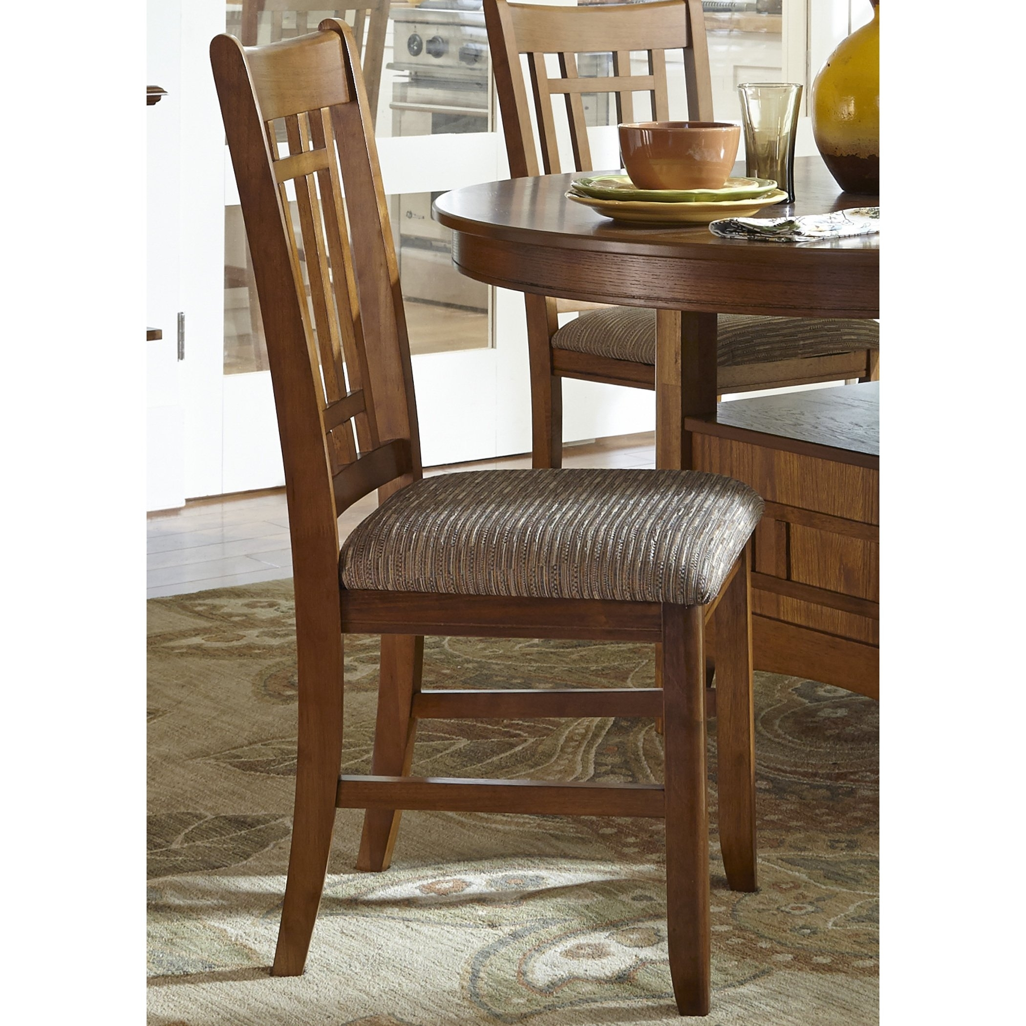 Famous Craftsman Upholstered Side Chairs In Shop Santa Rosa Oak Mission Upholstered Dining Chair – On Sale (View 3 of 20)