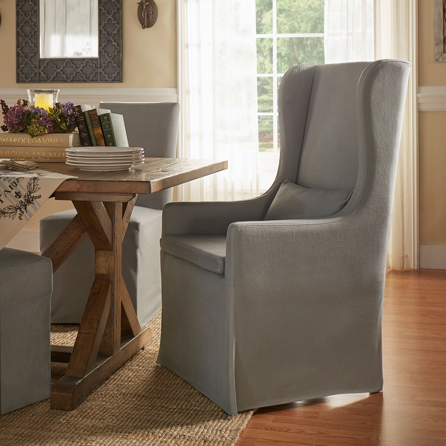 Famous Homehills Lisle Grey Slipcover Wingback Host Chair 22E703C1Pc Gaf(3A Inside Pearson Grey Slipcovered Side Chairs (#4 of 20)