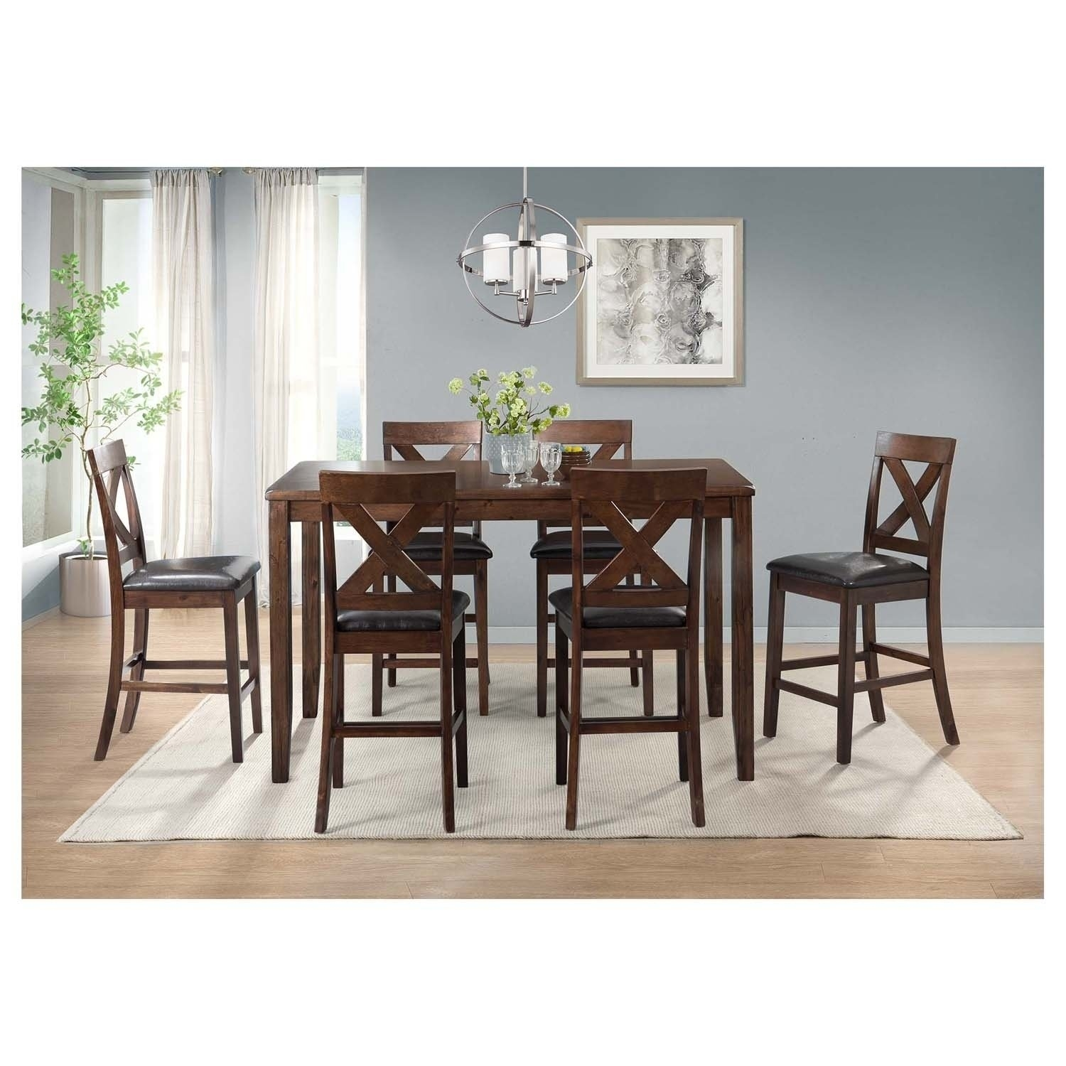 Famous Shop Picket House Furnishings Alexa 7Pc Dining Set – Ships To Canada Inside Alexa Black Side Chairs (#8 of 20)
