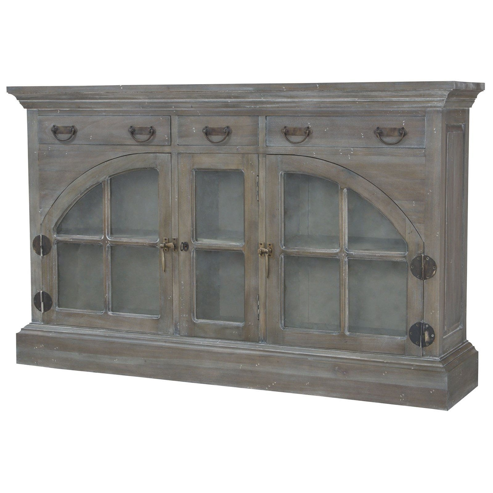 Farmhouse China Credenza In Waterfront Grey Stain And White Wash Throughout Most Recent White Wash 4 Door Galvanized Sideboards (View 2 of 20)