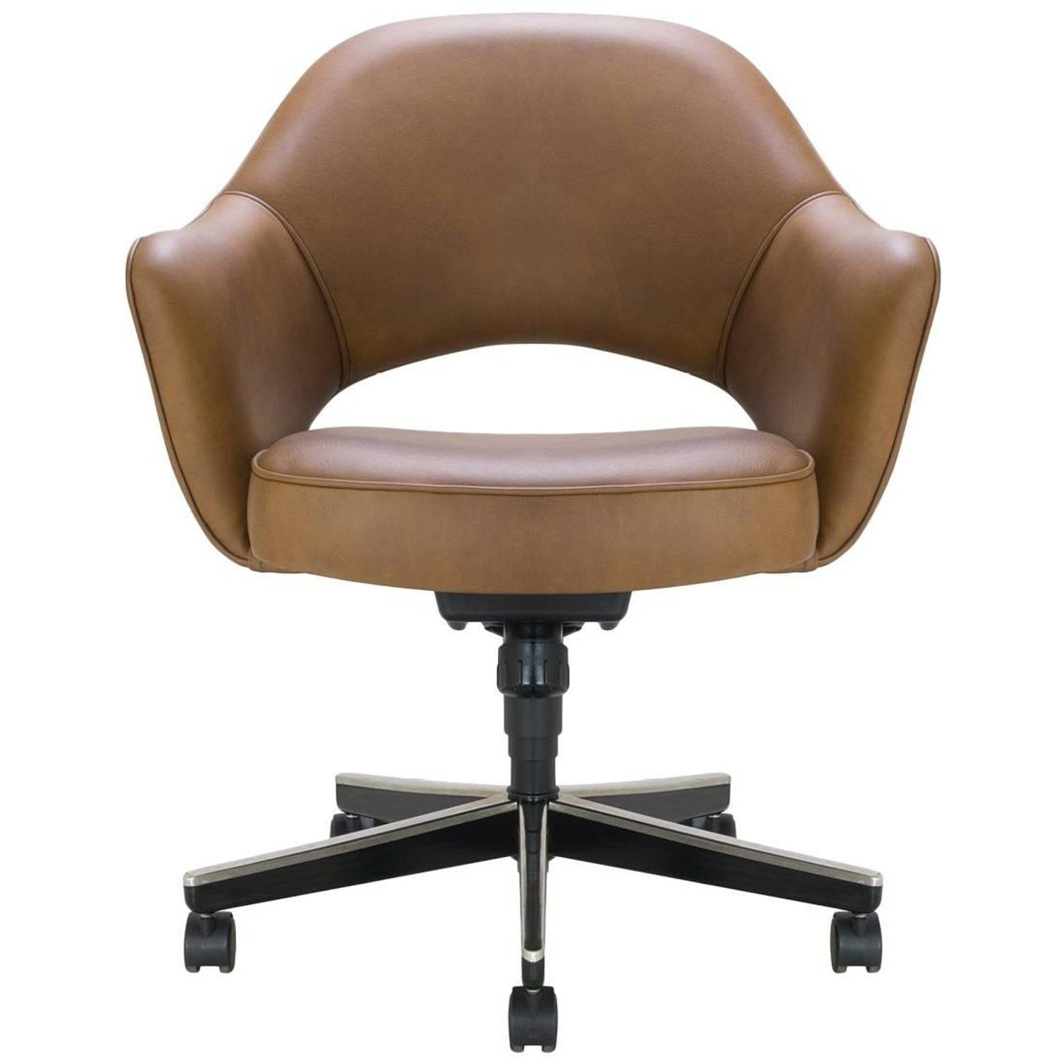Fashionable Chapleau Ii Arm Chairs Pertaining To Saarinen Executive Arm Chair In Saddle Leather, Swivel Base (View 9 of 20)