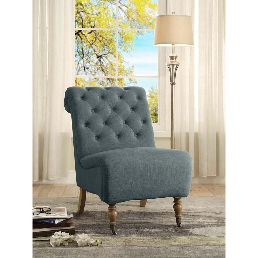 Fashionable Linon Home Decor Cora Washed Blue Linen Roll Back Side Chair With Regard To Cora Side Chairs (View 12 of 20)