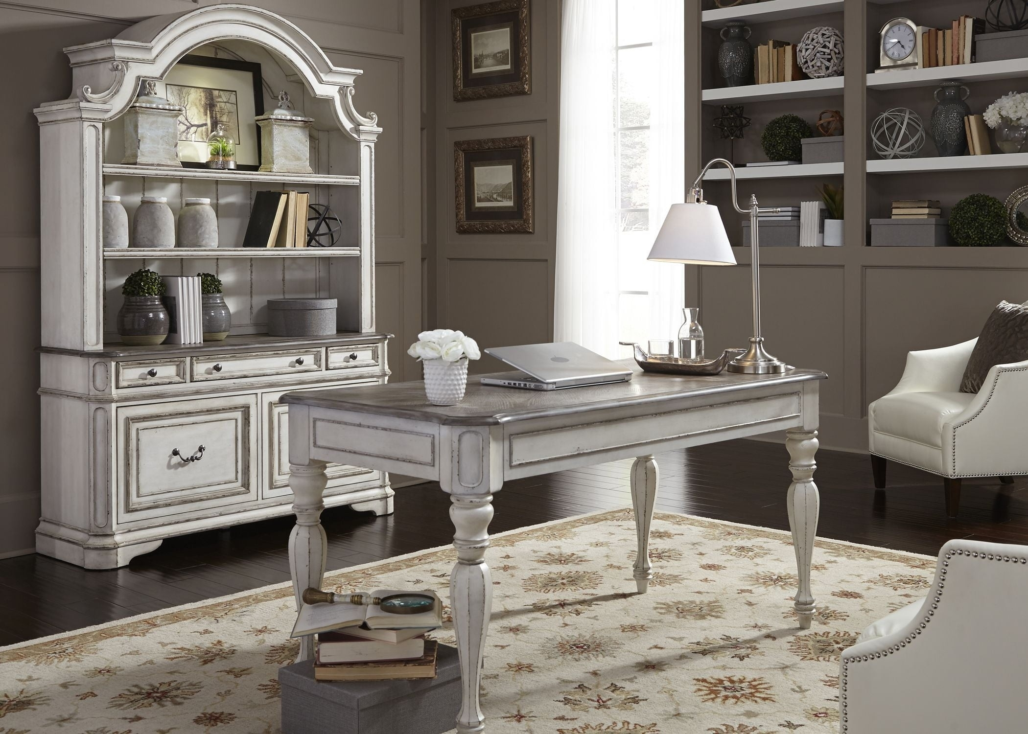 Fashionable Magnolia Manor Antique White Home Office Set From Liberty (View 14 of 20)