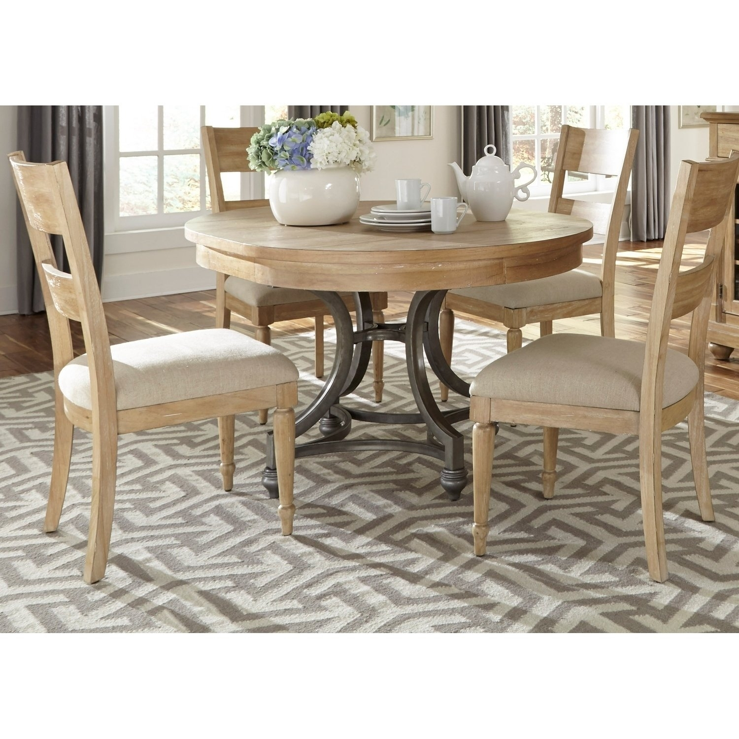Fashionable Mindy Slipcovered Side Chairs Regarding Shop Harbor View Sand 5 Piece Round Table Set – On Sale – Free (#4 of 20)
