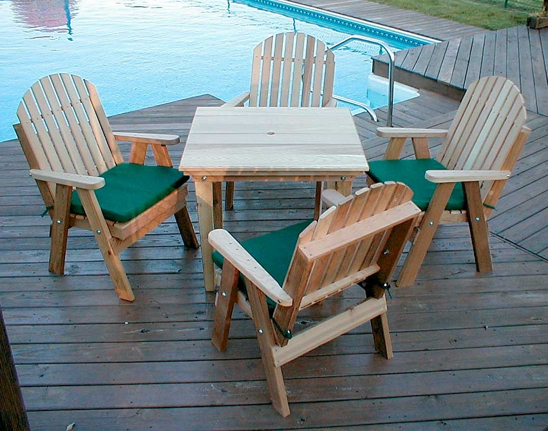 Favorite Green Cedar Dining Chairs Pertaining To Red Cedar Fanback Patio Dining Set (#6 of 20)